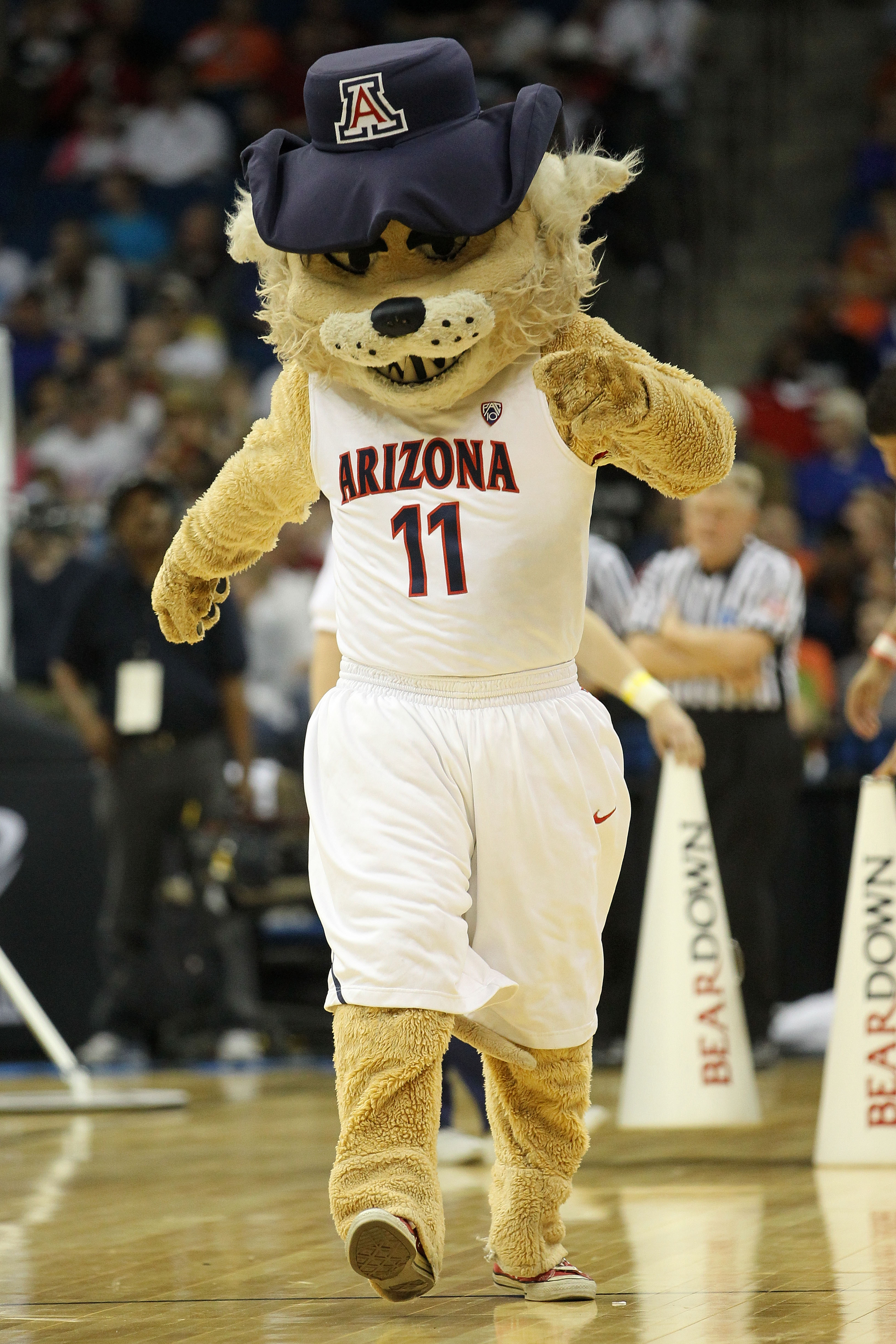 TULSA, OK - MARCH 18:  The Arizona Wildcats mascot performs during the second round game against the Memphis Tigers in the 2011 NCAA men's basketball tournament at BOK Center on March 18, 2011 in Tulsa, Oklahoma.  (Photo by Ronald Martinez/Getty Images)