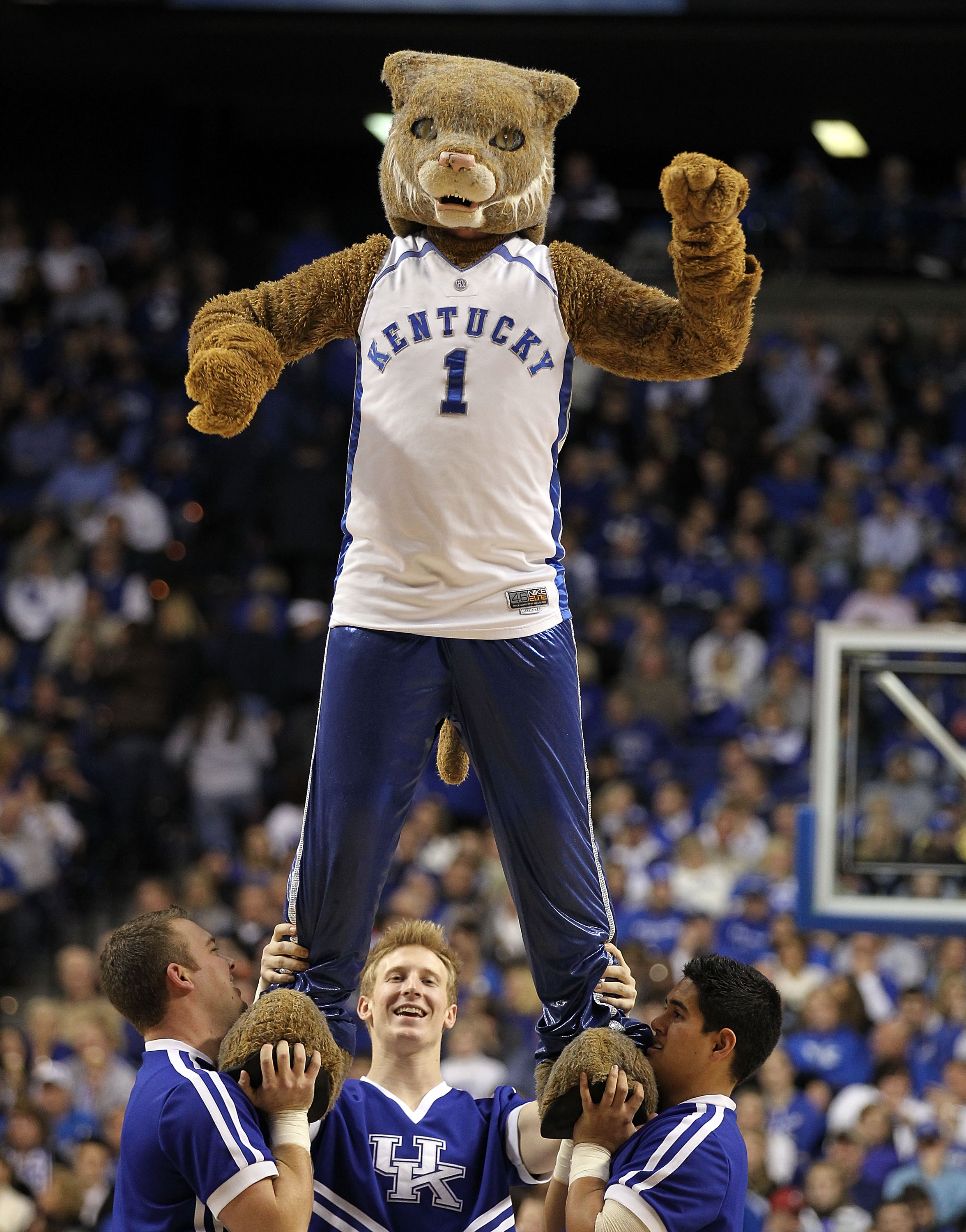 LEXINGTON, KY - DECEMBER 28:  The mascot of the Kentucky Wildcats performs during the game against the Coppin State Eagles at Rupp Arena on December 28, 2010 in Lexington, Kentucky.  Kentucky won 91-61.  (Photo by Andy Lyons/Getty Images)
