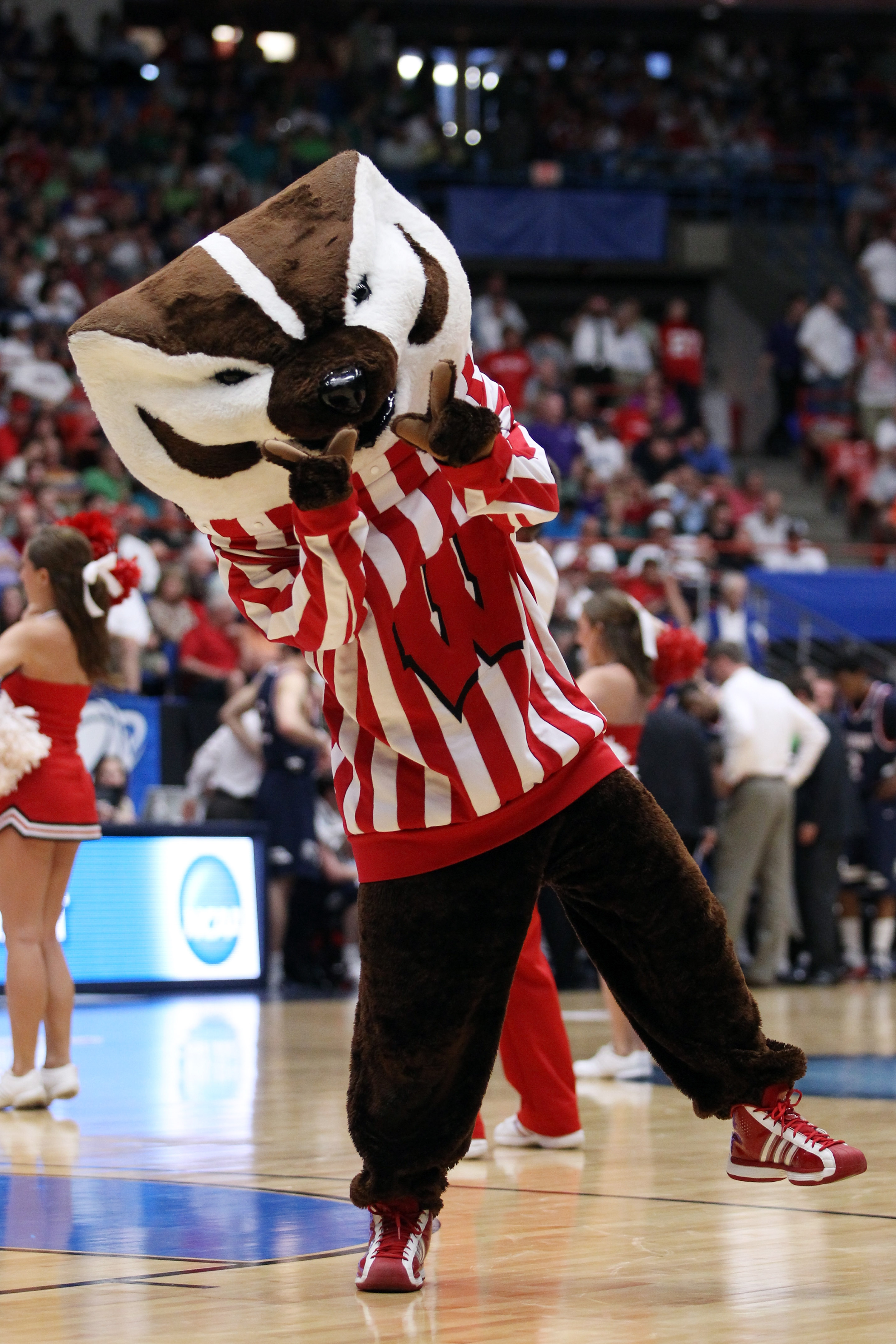 TUCSON, AZ - MARCH 17:  The Wisconsin Badgers mascot performs during their game against the Belmont Bruins in the second round of the 2011 NCAA men's basketball tournament at McKale Center on March 17, 2011 in Tucson, Arizona.  (Photo by Christian Peterse