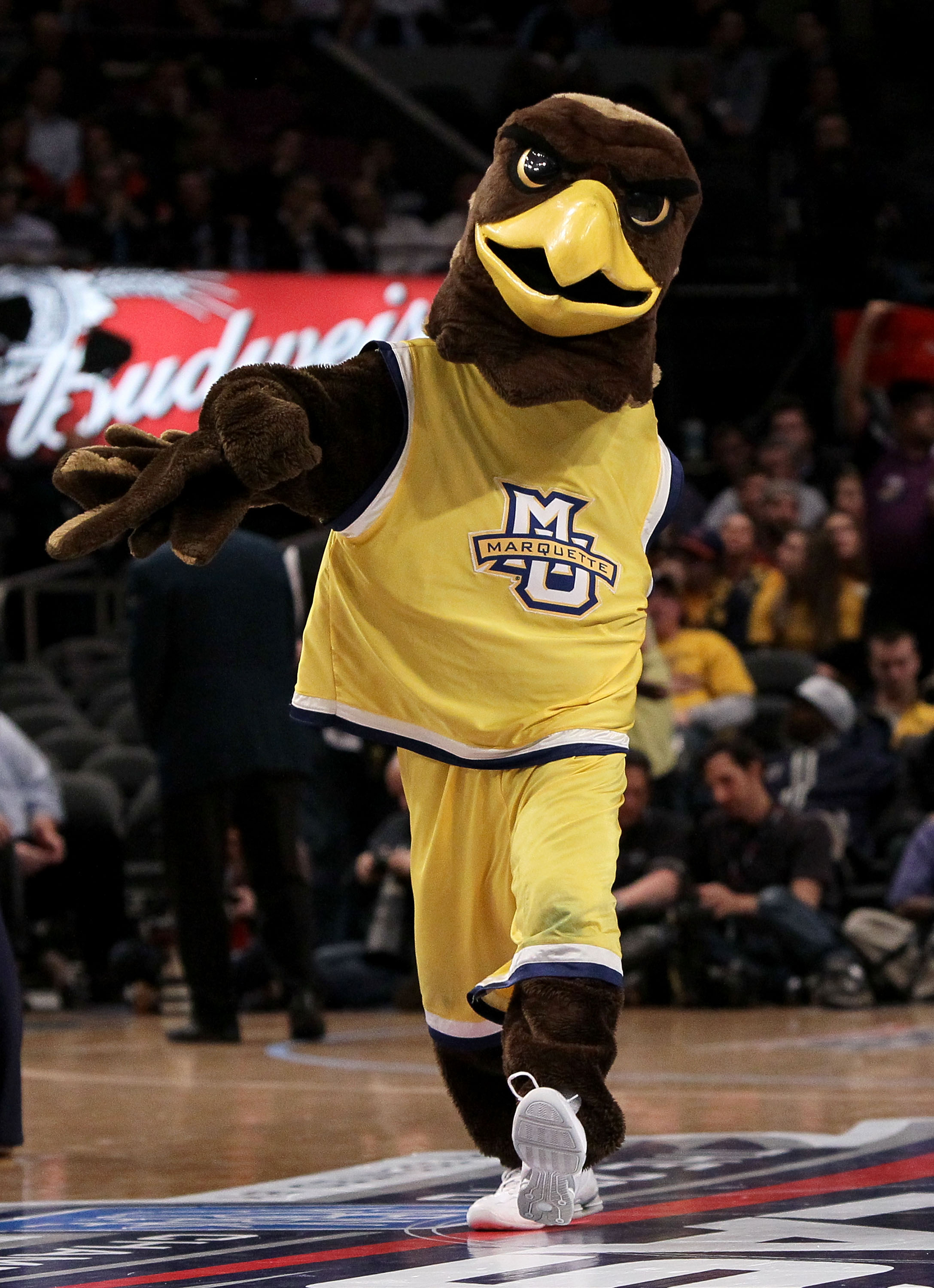 NEW YORK - MARCH 12: The Marquette Golden Eagles mascot walks on the court against the Georgetown Hoyas during the semifinal of the 2010 Big East Tournament at Madison Square Garden on March 12, 2010 in New York City.  (Photo by Jim McIsaac/Getty Images)