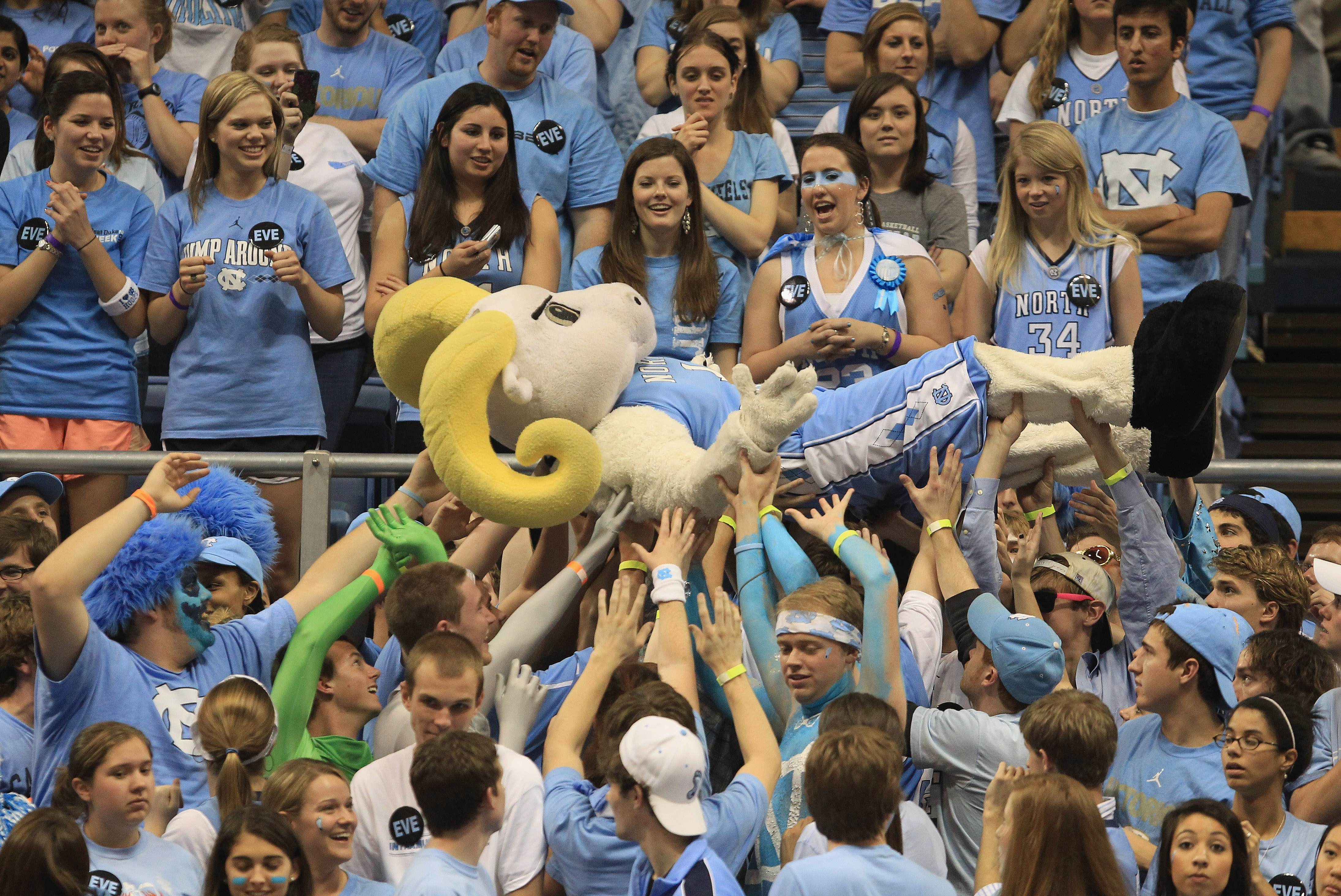 CHAPEL HILL, NC - MARCH 05:  The mascot of the North Carolina Tar Heels crowd surfs during their game against the Duke Blue Devils at the Dean E. Smith Center on March 5, 2011 in Chapel Hill, North Carolina.  (Photo by Streeter Lecka/Getty Images)