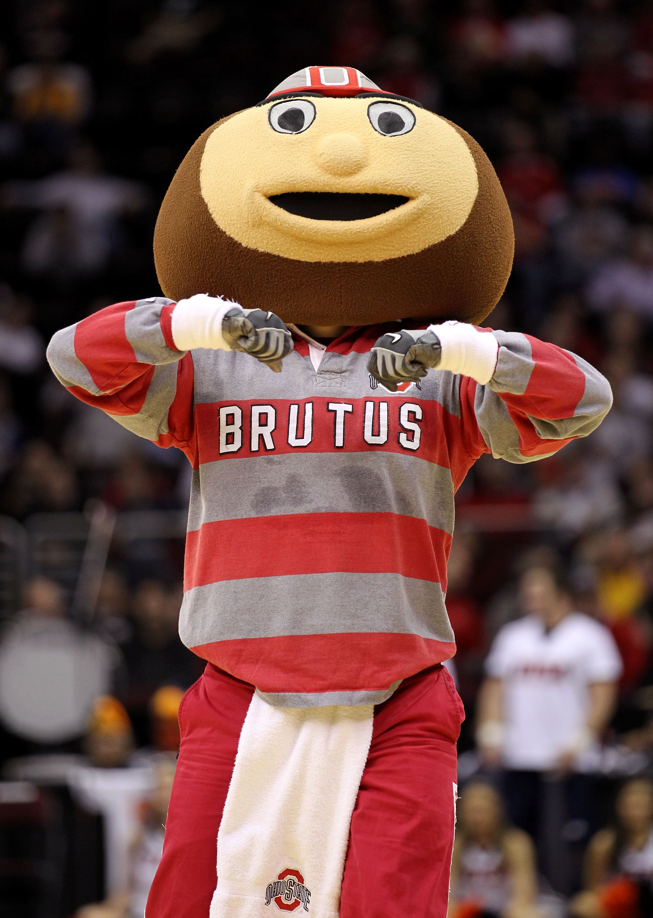 CLEVELAND, OH - MARCH 18: Brutus the Ohio State Buckeyes mascot walks on the court during the game against the Texas-San Antonio Roadrunners during the second round of the 2011 NCAA men's basketball tournament at Quicken Loans Arena on March 18, 2011 in C