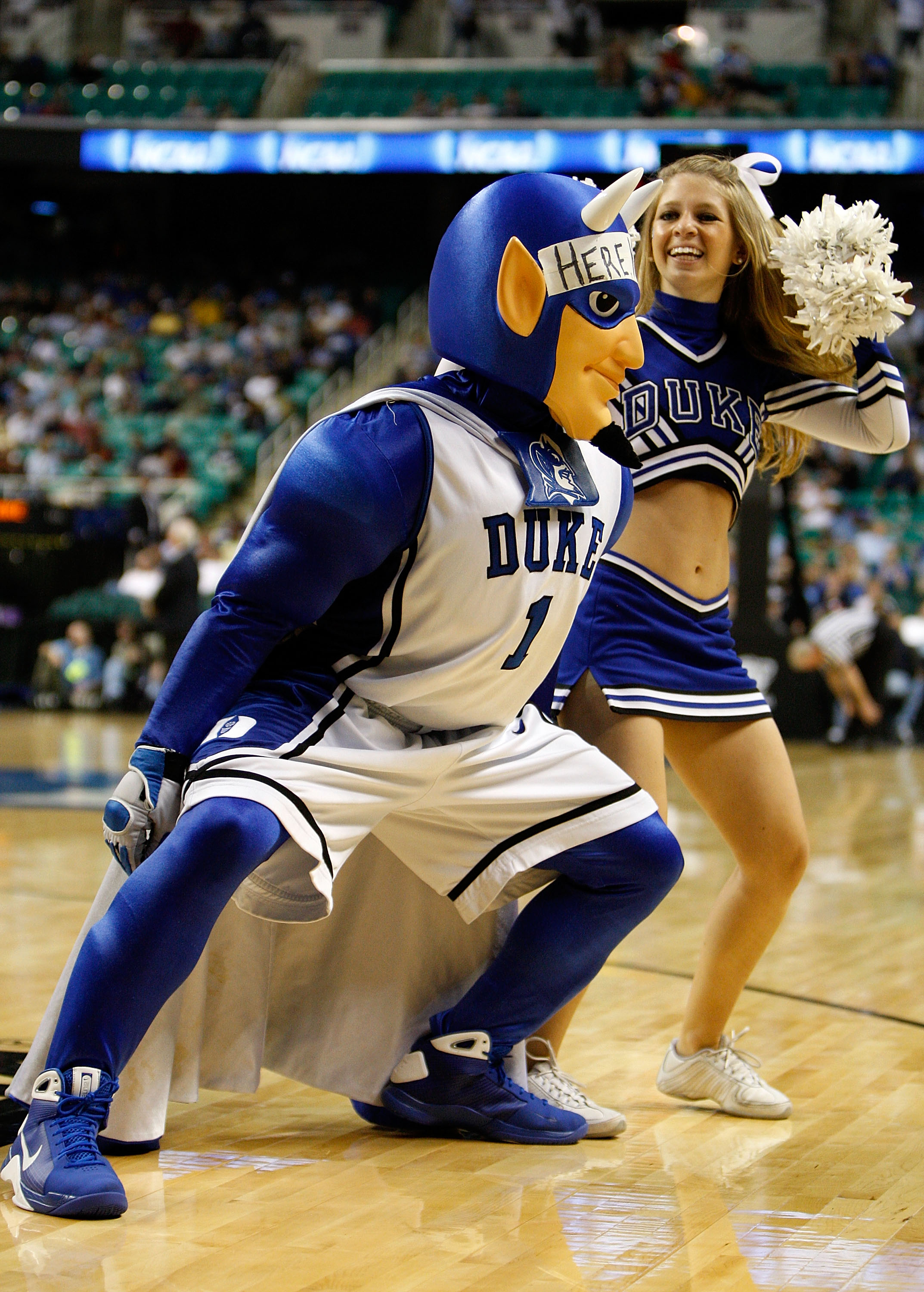 GREENSBORO, NC - MARCH 19:  The Duke Blue Devils mascot cheers against the Binghamton Bearcats during the first round of the NCAA Division I Men's Basketball Tournament at the Greensboro Coliseum on March 19, 2009 in Greensboro, North Carolina.  (Photo by