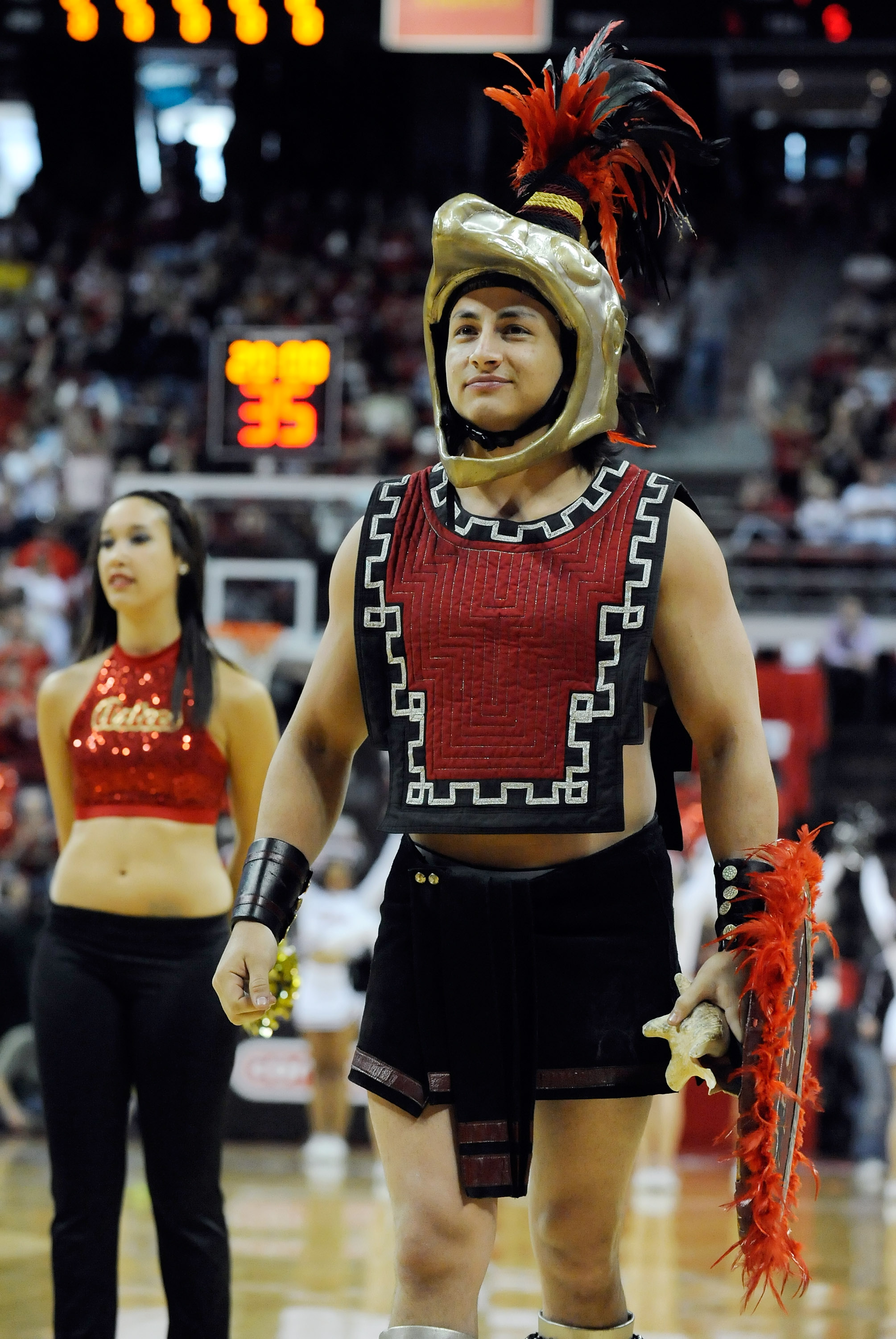 LAS VEGAS - MARCH 13:  The San Diego State Aztecs mascot Aztec Warrior appears on the court before the championship game against the UNLV Rebels at the Conoco Mountain West Conference Basketball tournament at the Thomas & Mack Center March 13, 2010 in Las
