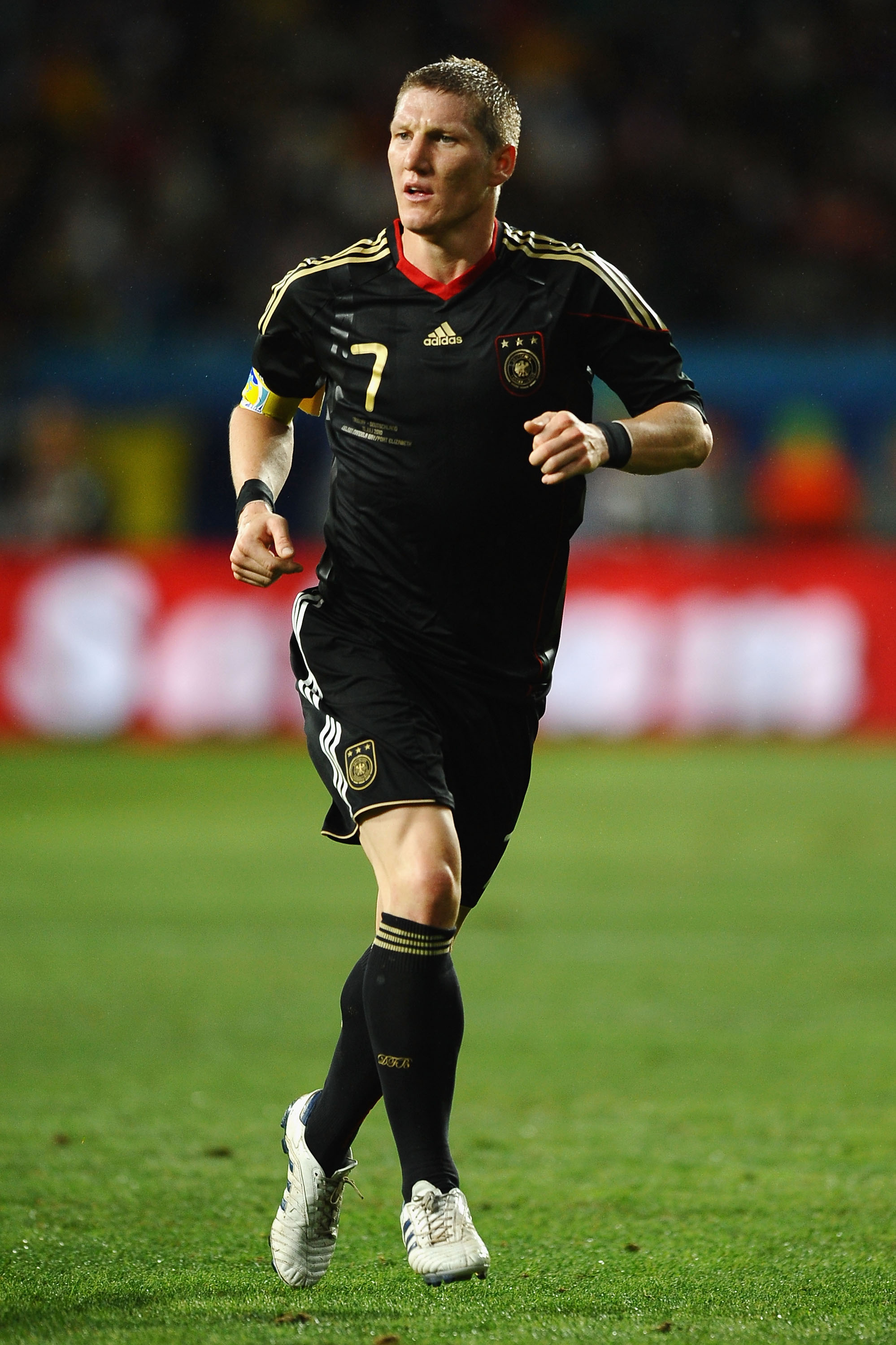 PORT ELIZABETH, SOUTH AFRICA - JULY 10:  Bastian Schweinsteiger of Germany in action during the 2010 FIFA World Cup South Africa Third Place Play-off match between Uruguay and Germany at The Nelson Mandela Bay Stadium on July 10, 2010 in Port Elizabeth, S