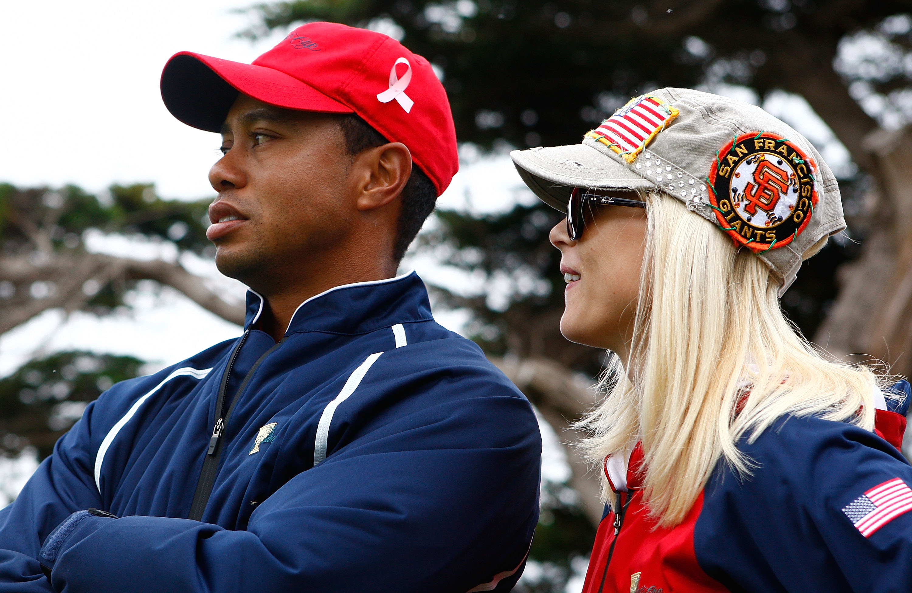 SAN FRANCISCO - OCTOBER 11: Tiger Woods of the USA Team waits with his wife
