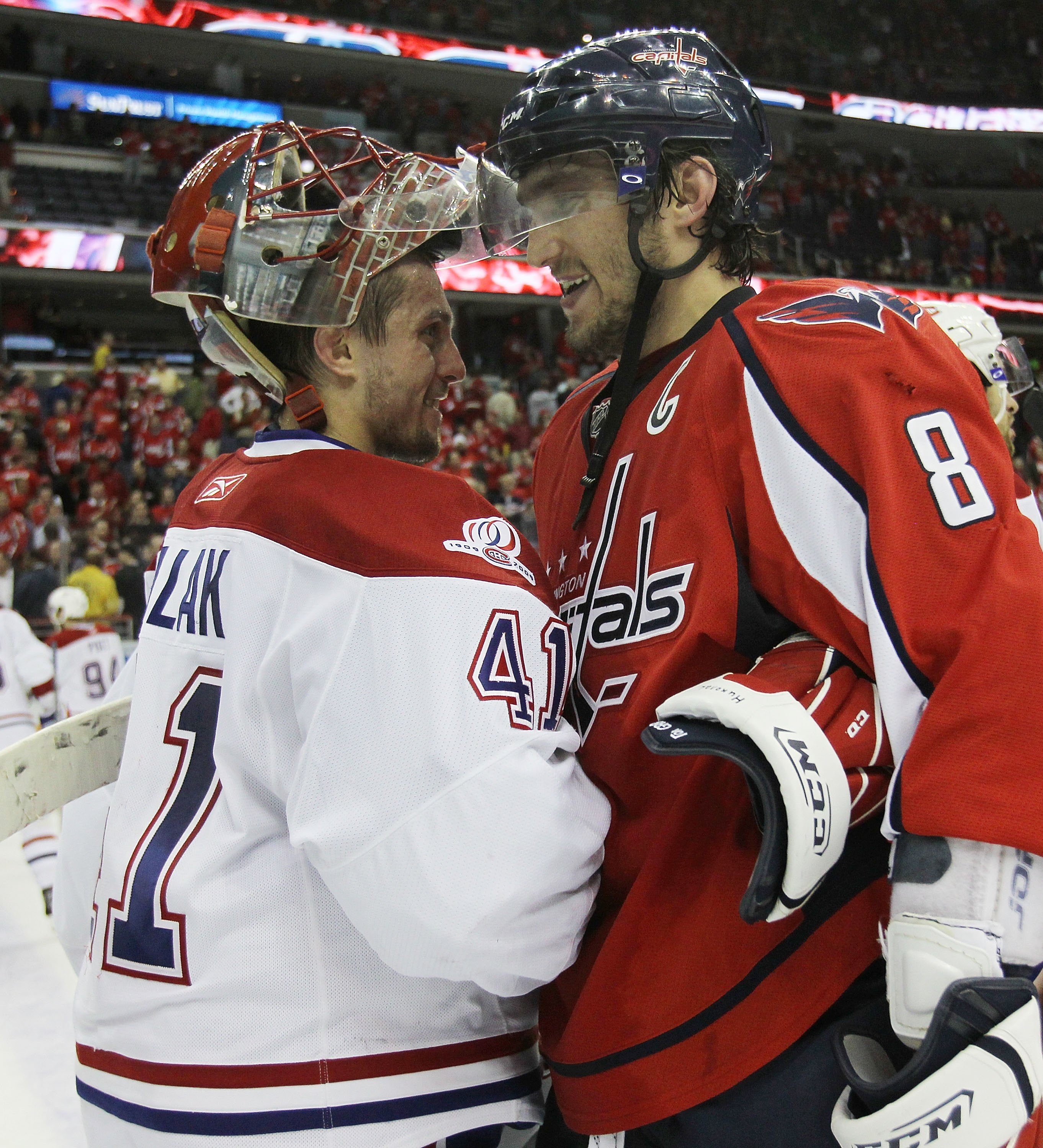 WASHINGTON - APRIL 28:  Jaroslav Halak #41 of the Montreal Canadiens shakes hands with Alex Ovechkin #8 of the Washington Capitals following the Canadiens 2-1 win in Game Seven of the Eastern Conference Quarterfinals during the 2010 NHL Stanley Cup Playof