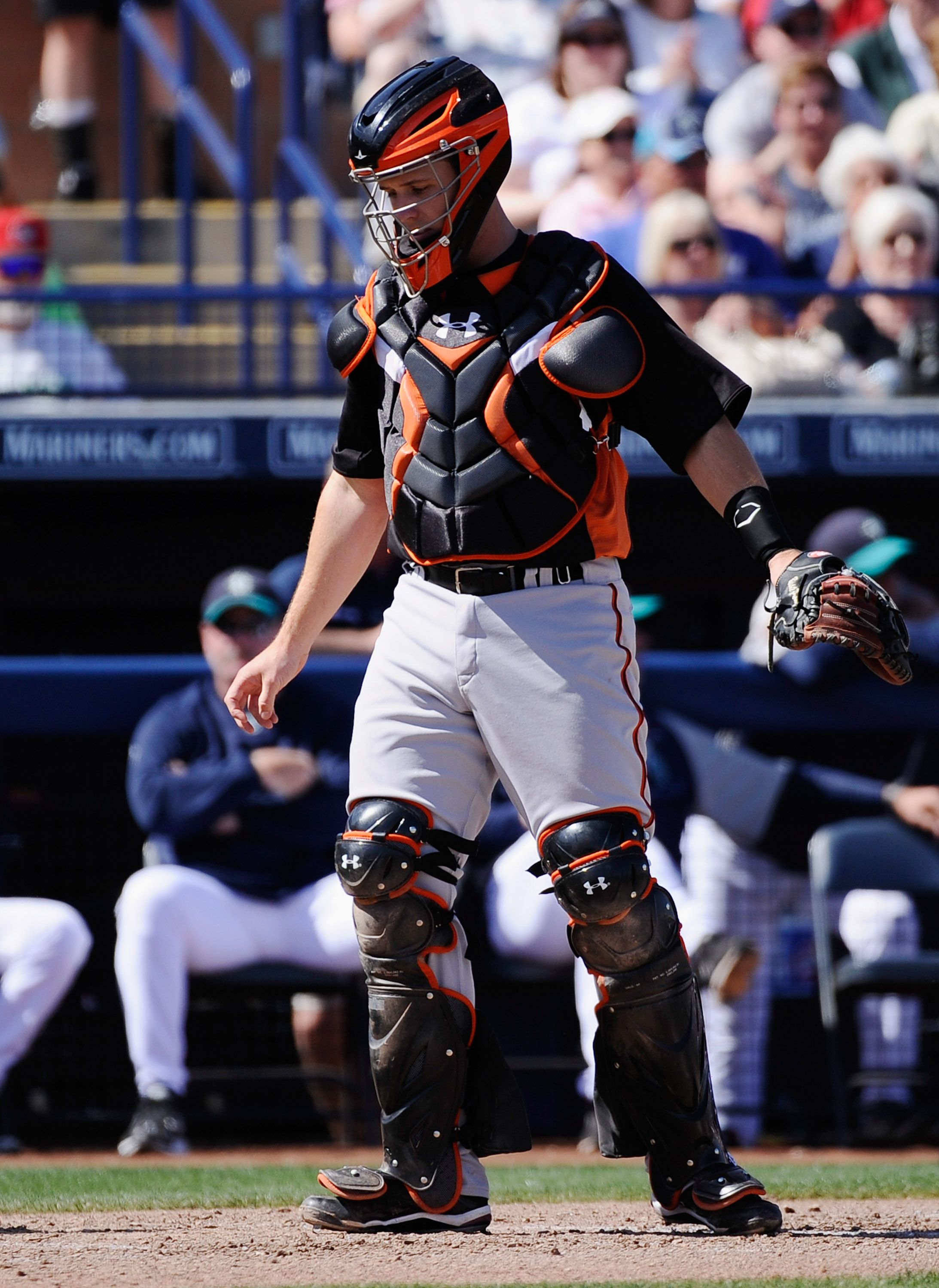 PEORIA, AZ - MARCH 08:  Buster Posey #28 catcher of the San Francisco Giants against the Seattle Mariners during the spring training baseball game against at Peoria Stadium on March 8, 2011 in Peoria, Arizona.  (Photo by Kevork Djansezian/Getty Images)