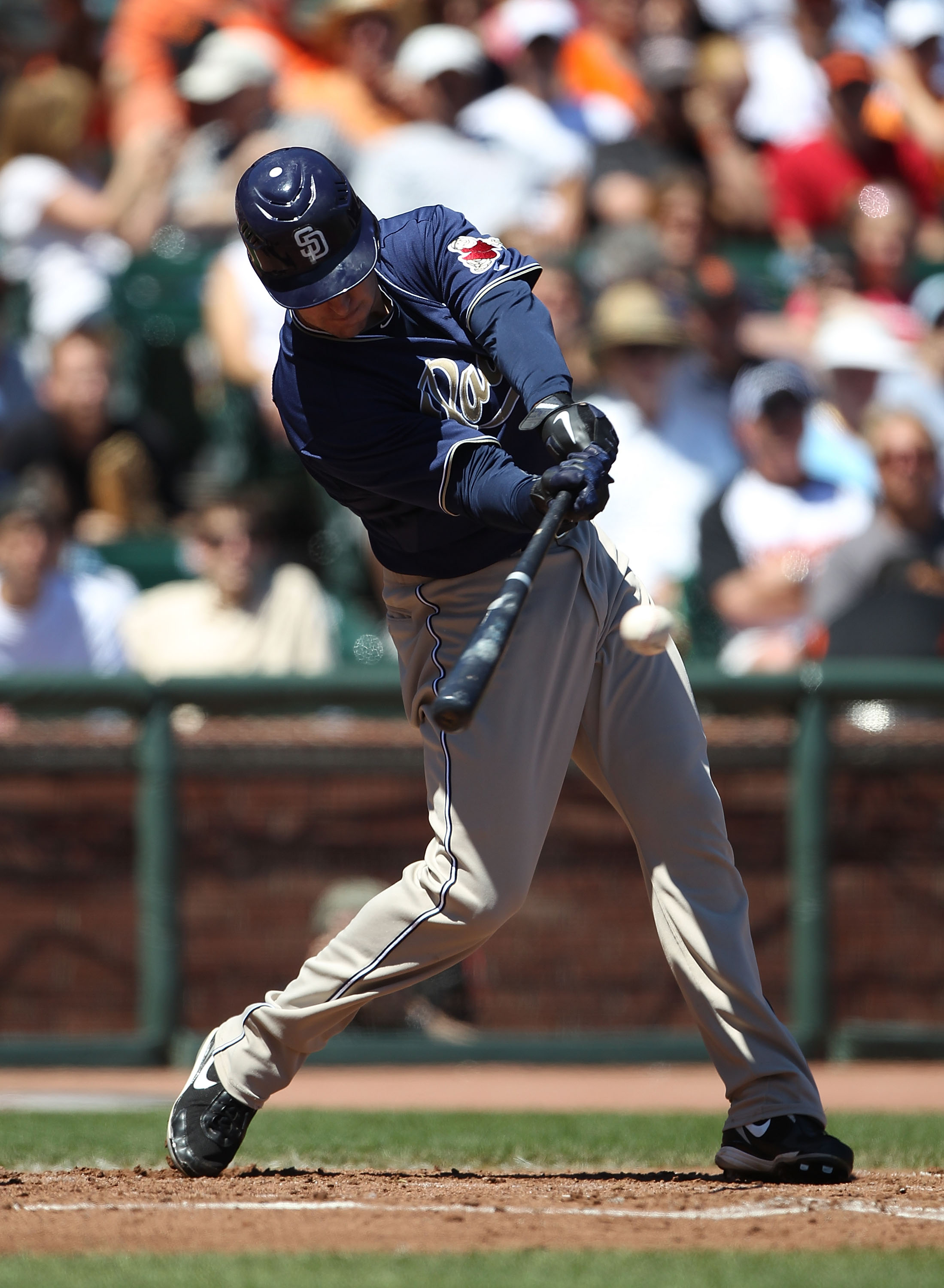SAN FRANCISCO - AUGUST 14:  Ryan Ludwick #47 of the San Diego Padres bats against the San Francisco Giants during an MLB game at AT&T Park on August 14, 2010 in San Francisco, California.  (Photo by Jed Jacobsohn/Getty Images)