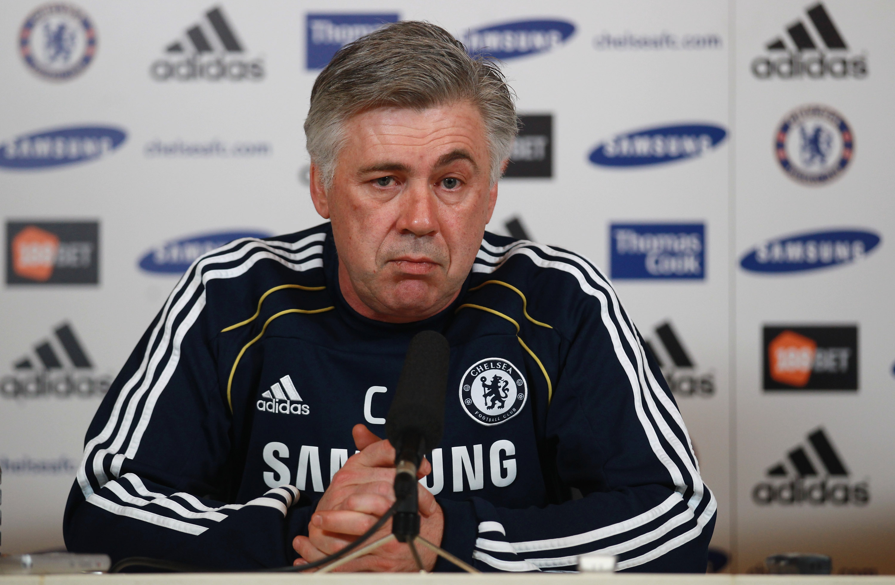 COBHAM, ENGLAND - FEBRUARY 11:  Chelsea manager Carlo Ancelotti address a press conference at the Cobham training ground on February 11, 2011 in Cobham, England.  (Photo by Warren Little/Getty Images)