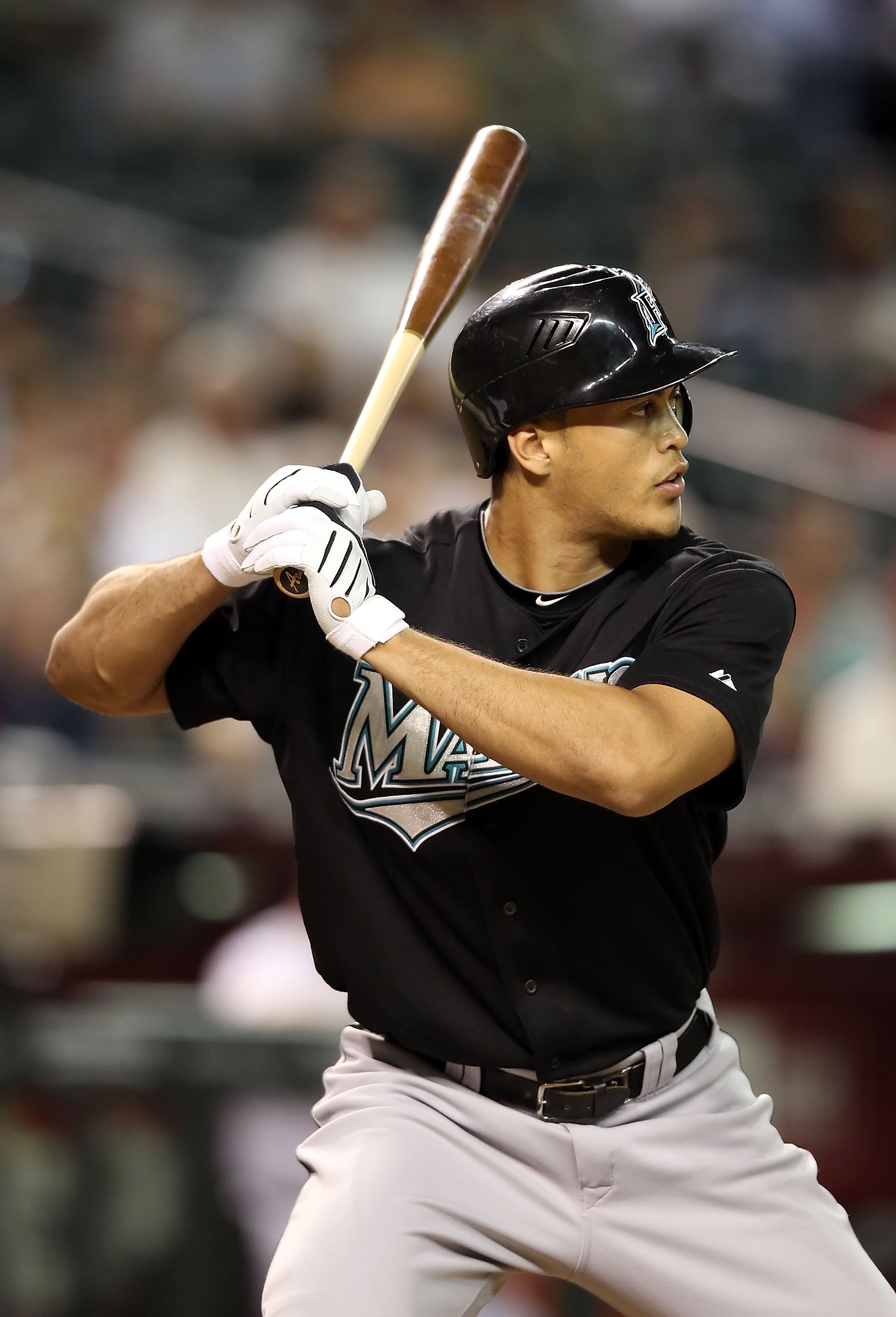 PHOENIX - JULY 08:  Mike Stanton #27 of the Florida Marlins at bat during the Major League Baseball game against the Arizona Diamondbacks at Chase Field on July 8, 2010 in Phoenix, Arizona. The Diamondbacks defeated the Marlins 10-4.  (Photo by Christian