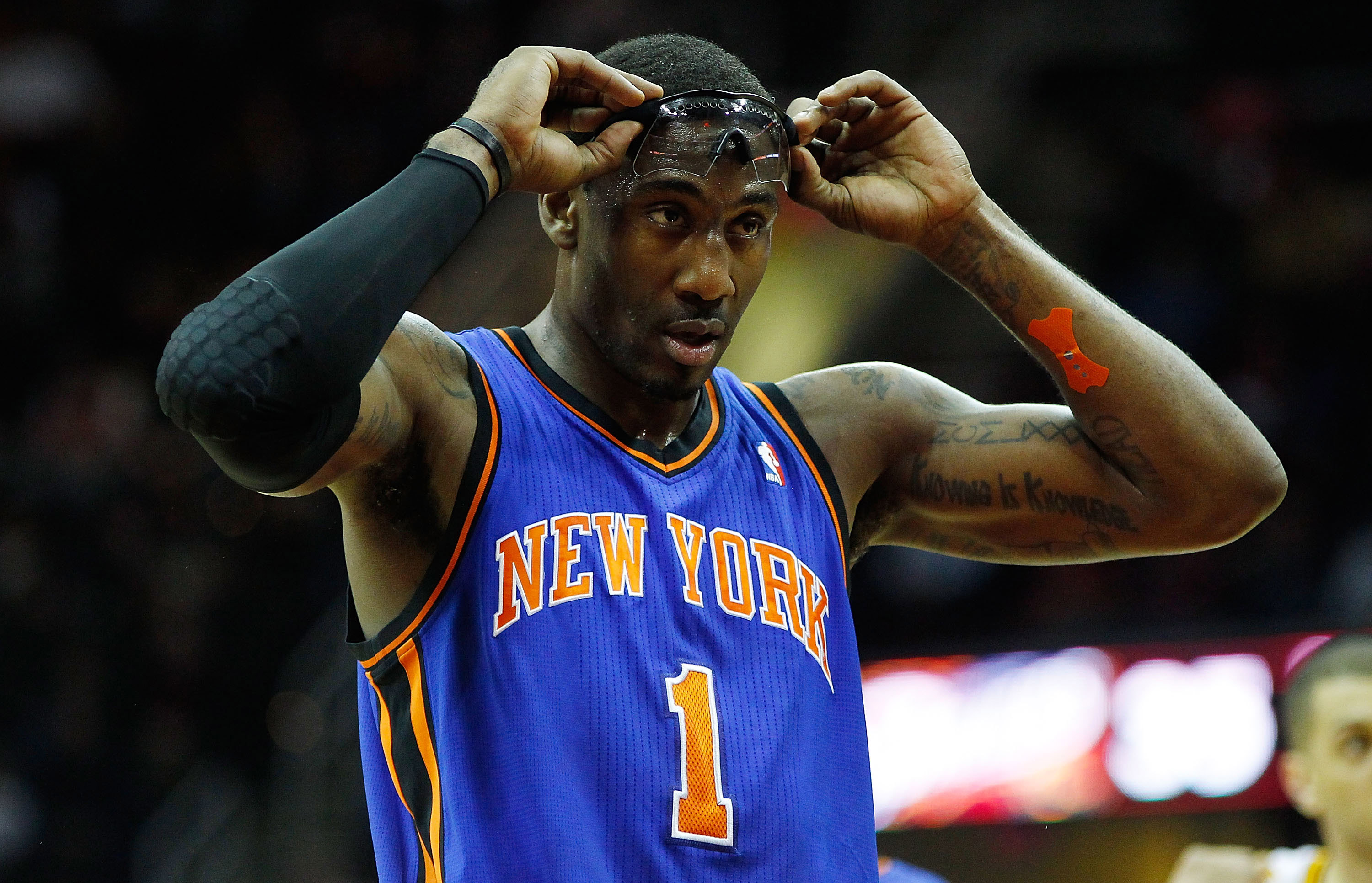 CLEVELAND, OH - FEBRUARY 25:  Amar'e Stoudemire #1 of the New York Knicks stands at the free throw line during the game against the Cleveland Cavaliers on February 25, 2011 at Quicken Loans Arena in Cleveland, Ohio. NOTE TO USER: User expressly acknowledg