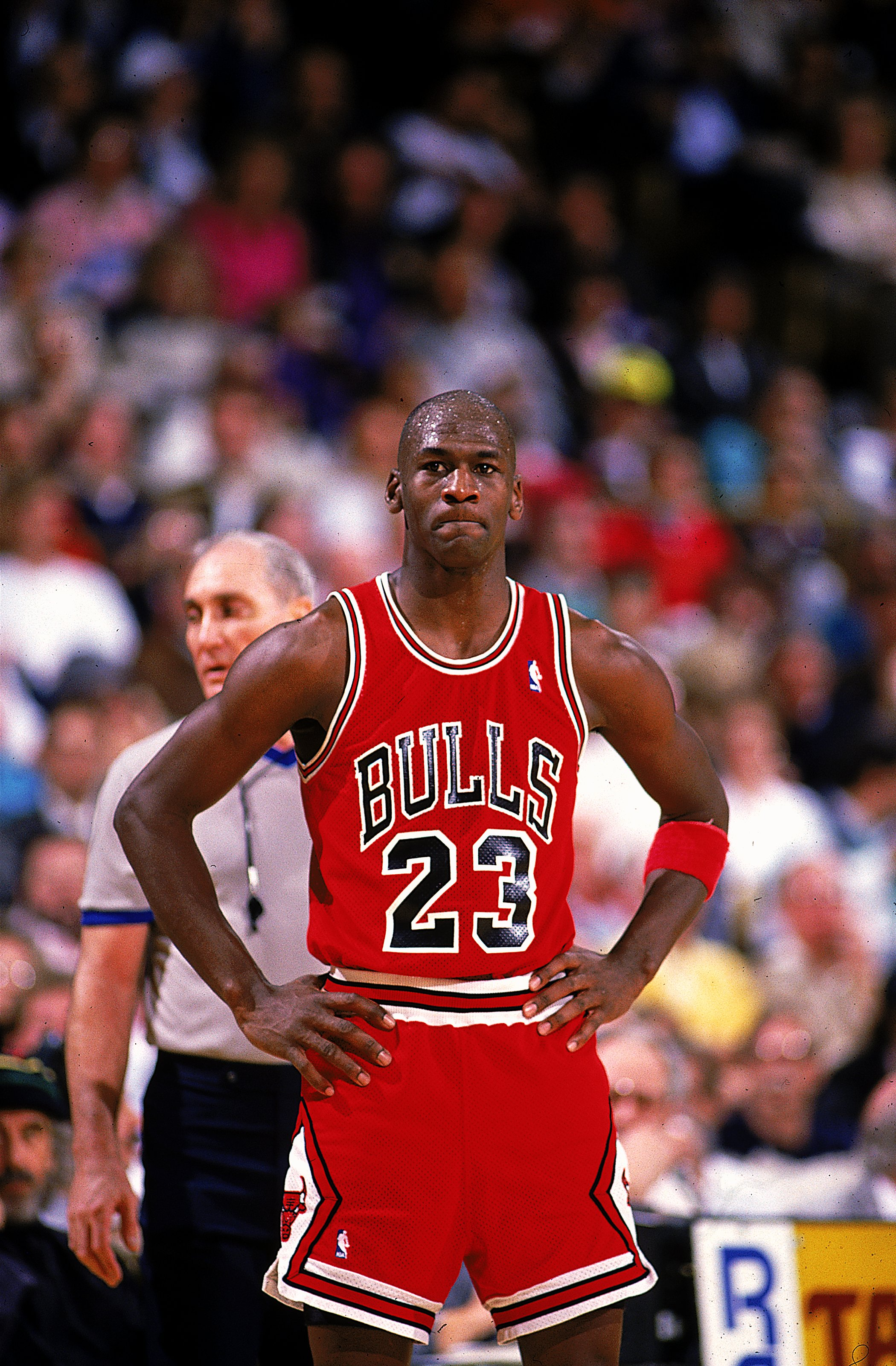 6f8ef7436d1016 1990  Michael Jordan  23 of the Chicago Bulls looks on during the game.