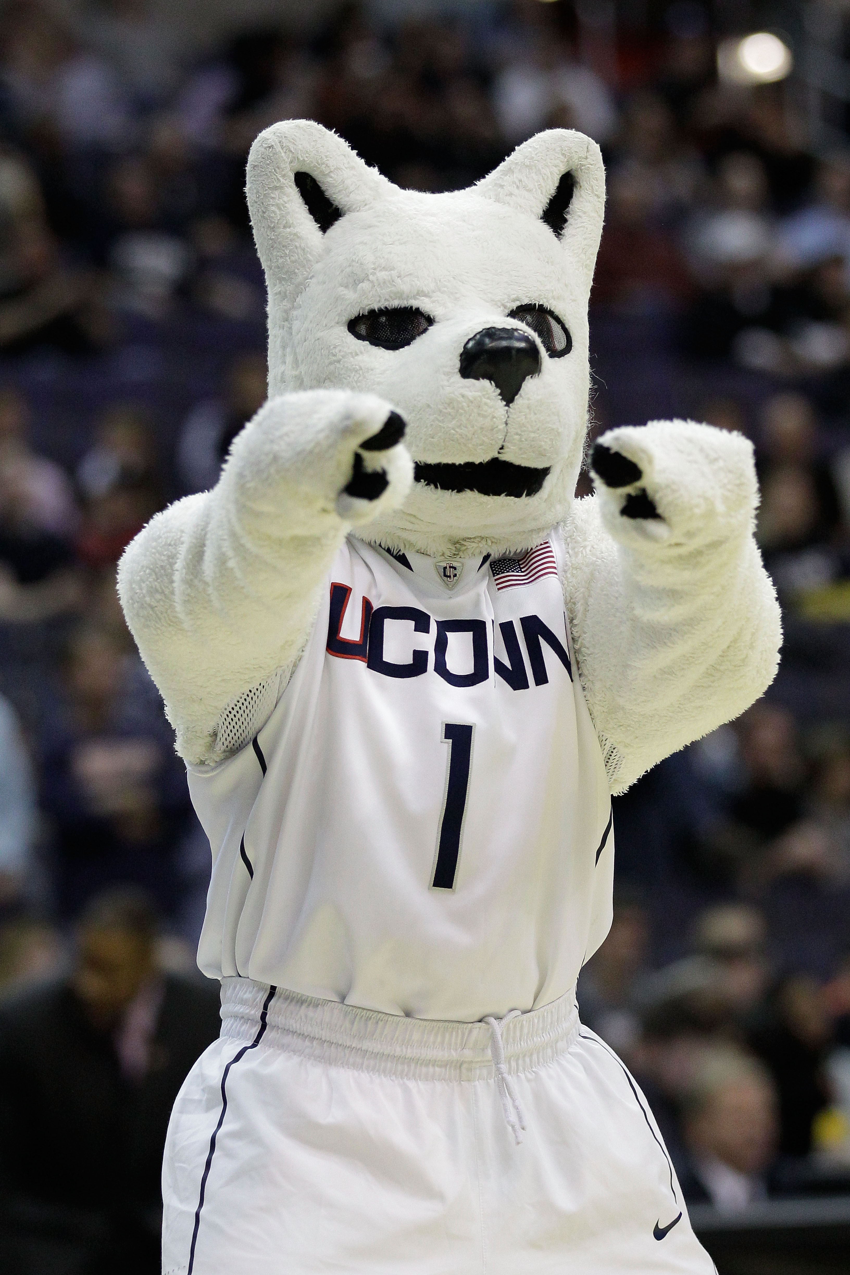 WASHINGTON - MARCH 19:  The Connecticut Huskies mascot performs during their game against the Cincinnati Bearcats during the third round of the 2011 NCAA men's basketball tournament at Verizon Center on March 19, 2011 in Washington, DC.  (Photo by Rob Car