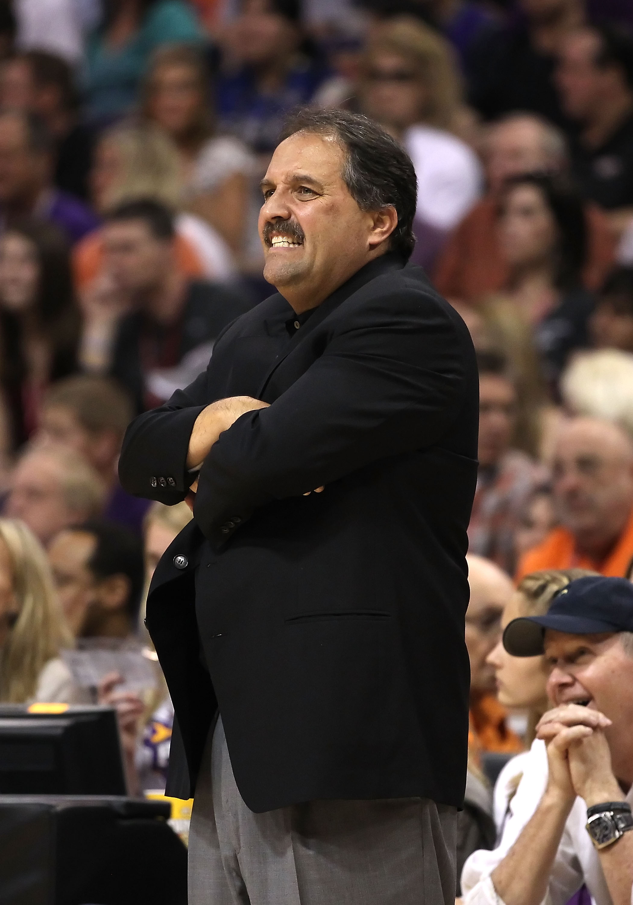PHOENIX, AZ - MARCH 13:  Head coach Stan Van Gundy of the Orlando Magic reacts during the NBA game against the Phoenix Suns at US Airways Center on March 13, 2011 in Phoenix, Arizona.  The Magic defeated the Suns 111-88.  NOTE TO USER: User expressly ackn