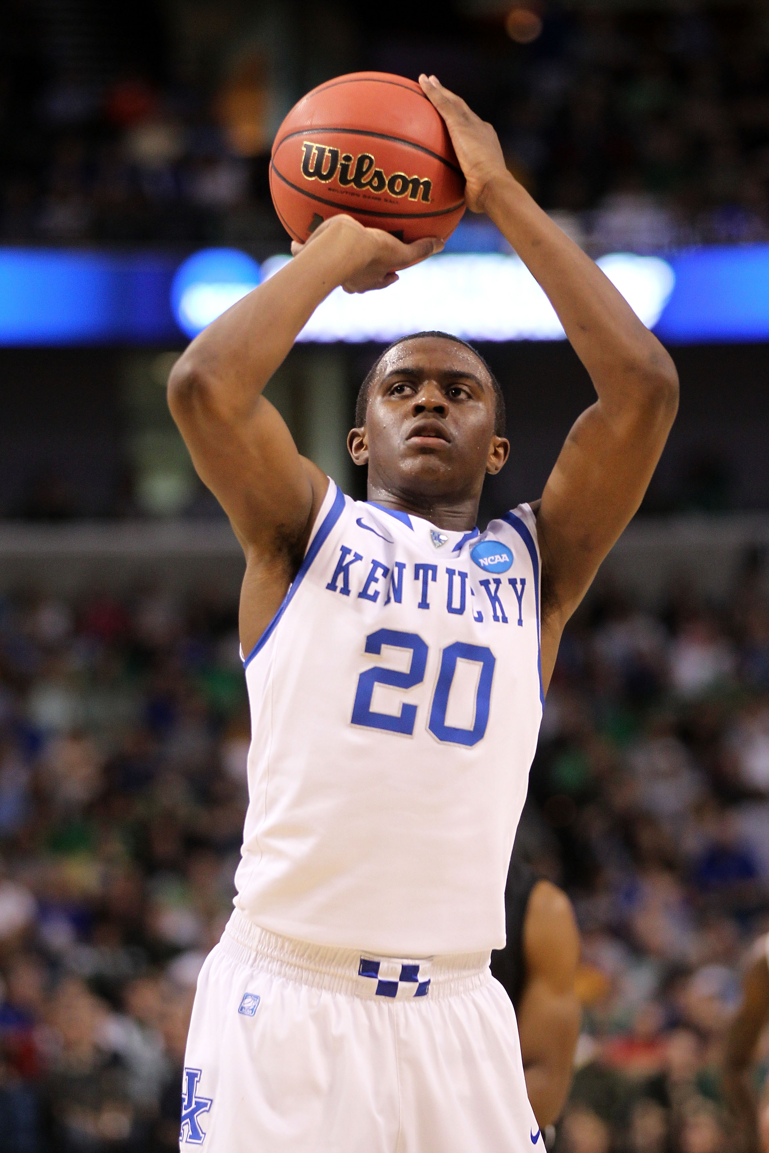 TAMPA, FL - MARCH 17:  Doron Lamb #20 of the Kentucky Wildcats attempts a free throw against the Princeton Tigers during the second round of the 2011 NCAA men's basketball tournament at St. Pete Times Forum on March 17, 2011 in Tampa, Florida.  (Photo by