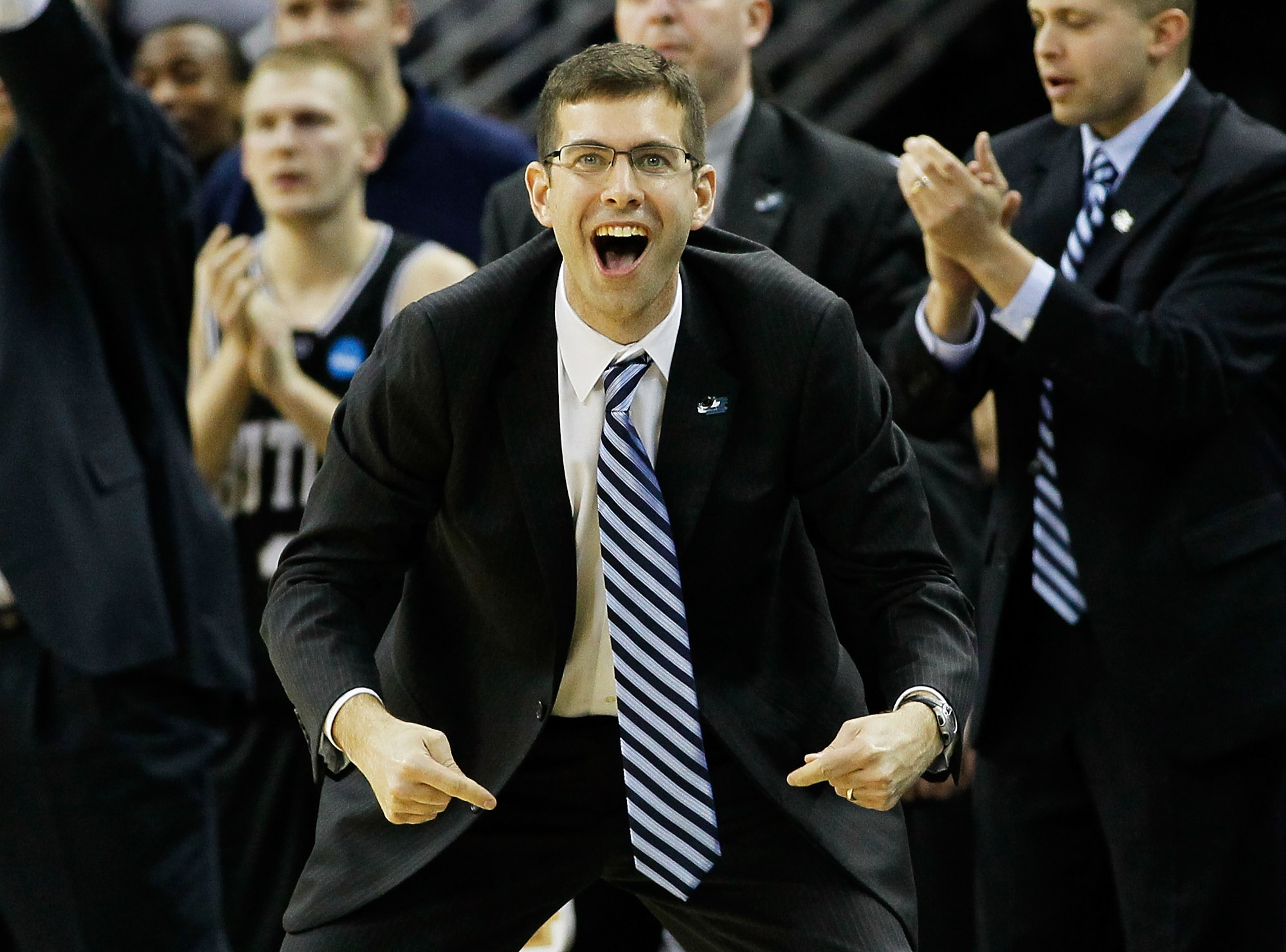 NEW ORLEANS, LA - MARCH 26:  Head coach Brad Stevens of the Butler Bulldogs reacts during overtime against the Florida Gators in the Southeast regional final of the 2011 NCAA men's basketball tournament at New Orleans Arena on March 26, 2011 in New Orlean