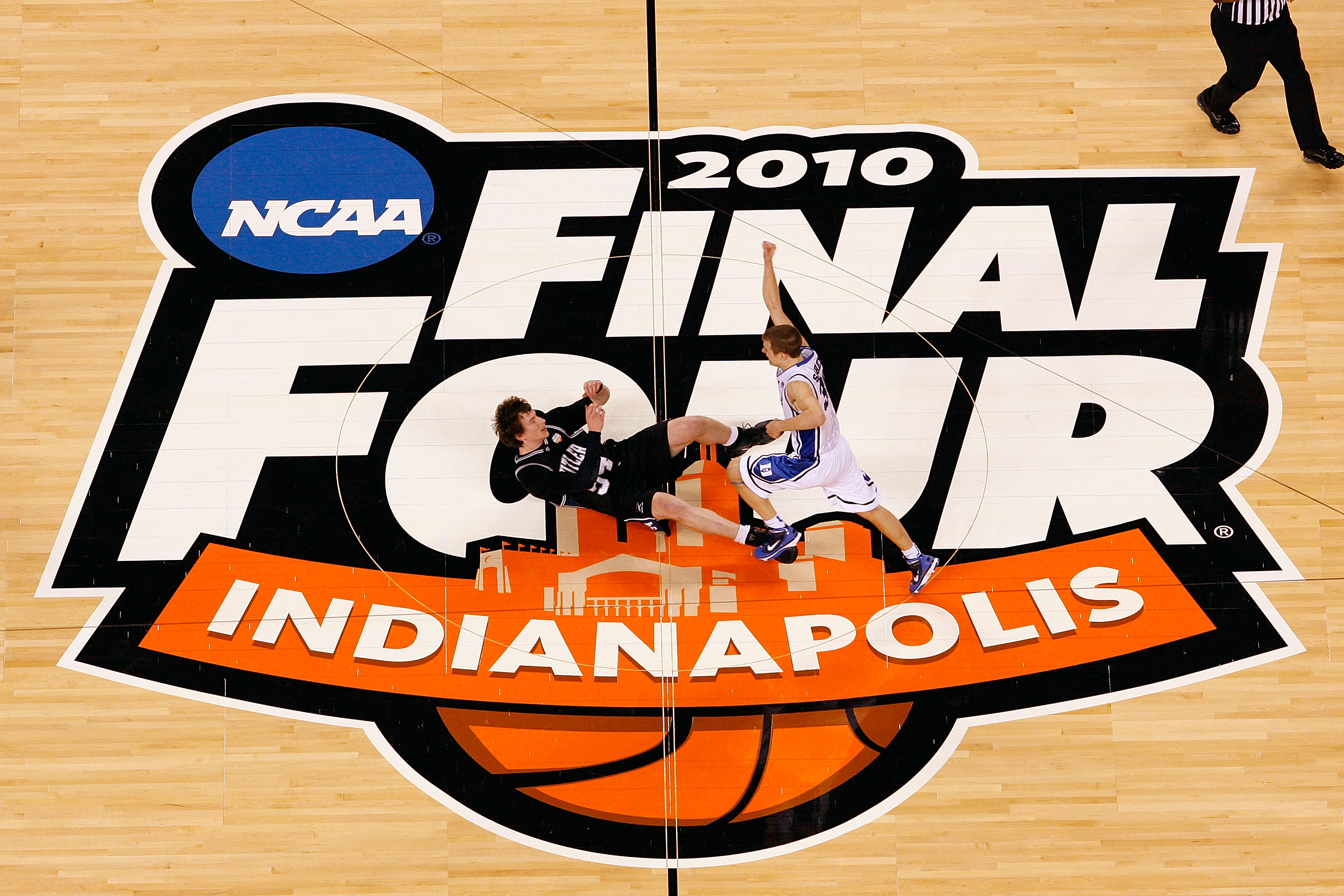 INDIANAPOLIS - APRIL 05:  Jon Scheyer #30 of the Duke Blue Devils celebrates after they won 61-59 against Matt Howard #54 (lying on the court at L) of the Butler Bulldogs during the 2010 NCAA Division I Men's Basketball National Championship game at Lucas