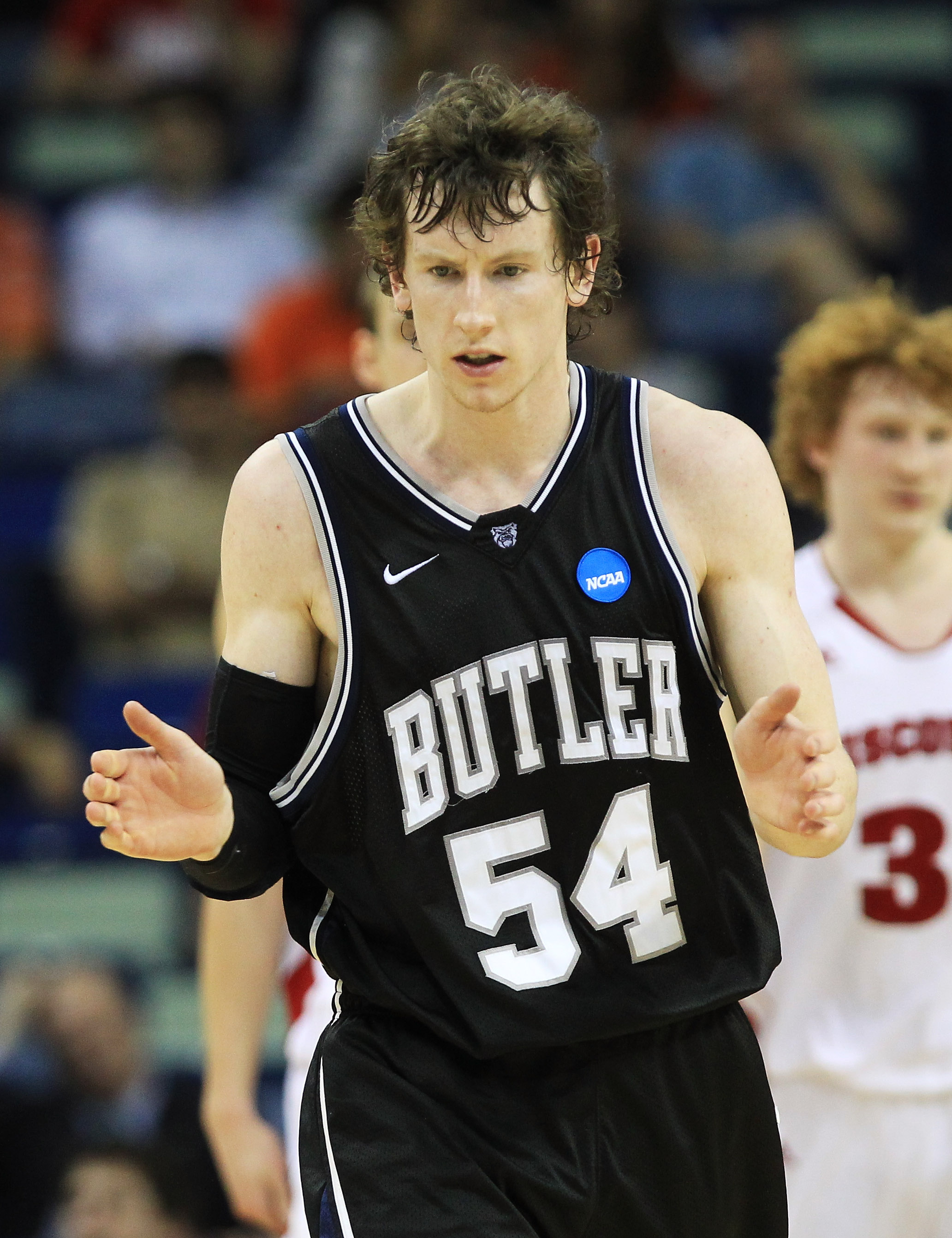 NEW ORLEANS, LA - MARCH 24:  Matt Howard #54 of the Butler Bulldogs reacts during their game against the Wisconsin Badgers during the Southeast regional of the 2011 NCAA men's basketball tournament at New Orleans Arena on March 24, 2011 in New Orleans, Lo