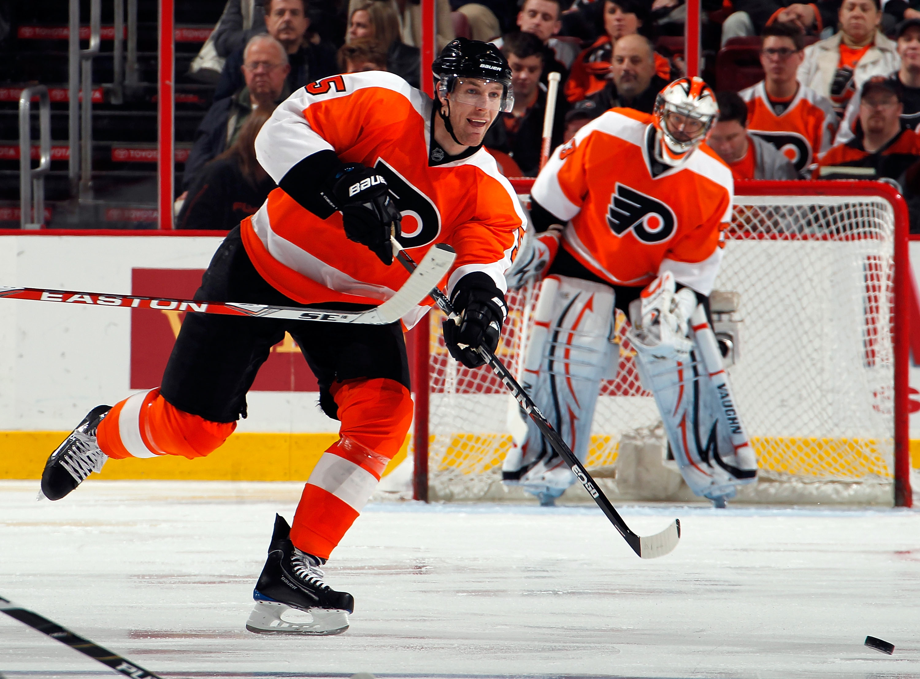 PHILADELPHIA, PA - MARCH 22:  Braydon Coburn #5 of the Philadelphia Flyers clears the puck during an NHL hockey game against the Washington Capitals at the Wells Fargo Center on March 22, 2011 in Philadelphia, Pennsylvania.  (Photo by Paul Bereswill/Getty