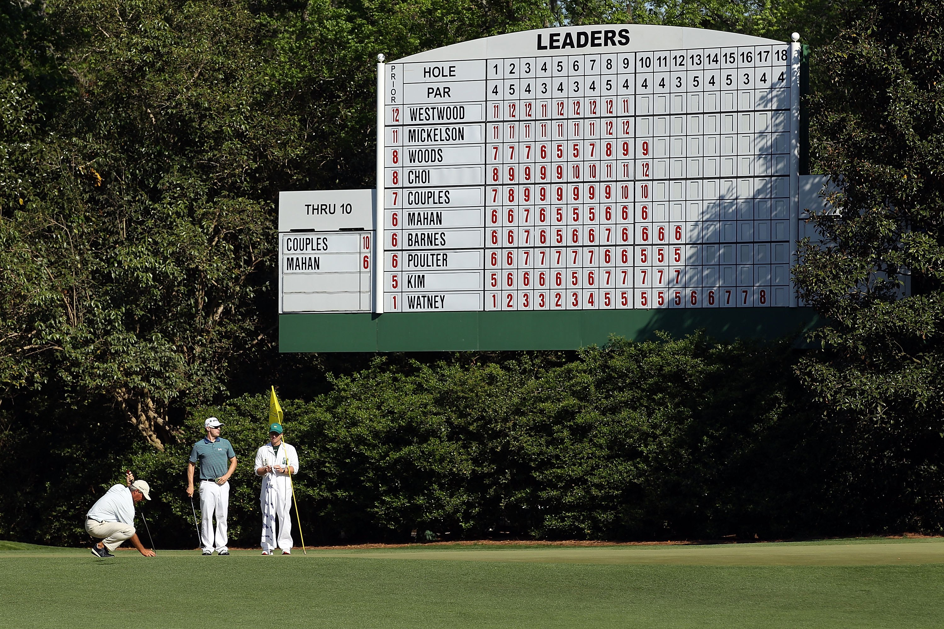 AUGUSTA, GA - APRIL 11:  Fred Couples and Hunter Mahan during the final round of the 2010 Masters Tournament at Augusta National Golf Club on April 11, 2010 in Augusta, Georgia.  (Photo by Streeter Lecka/Getty Images for Golf Week)