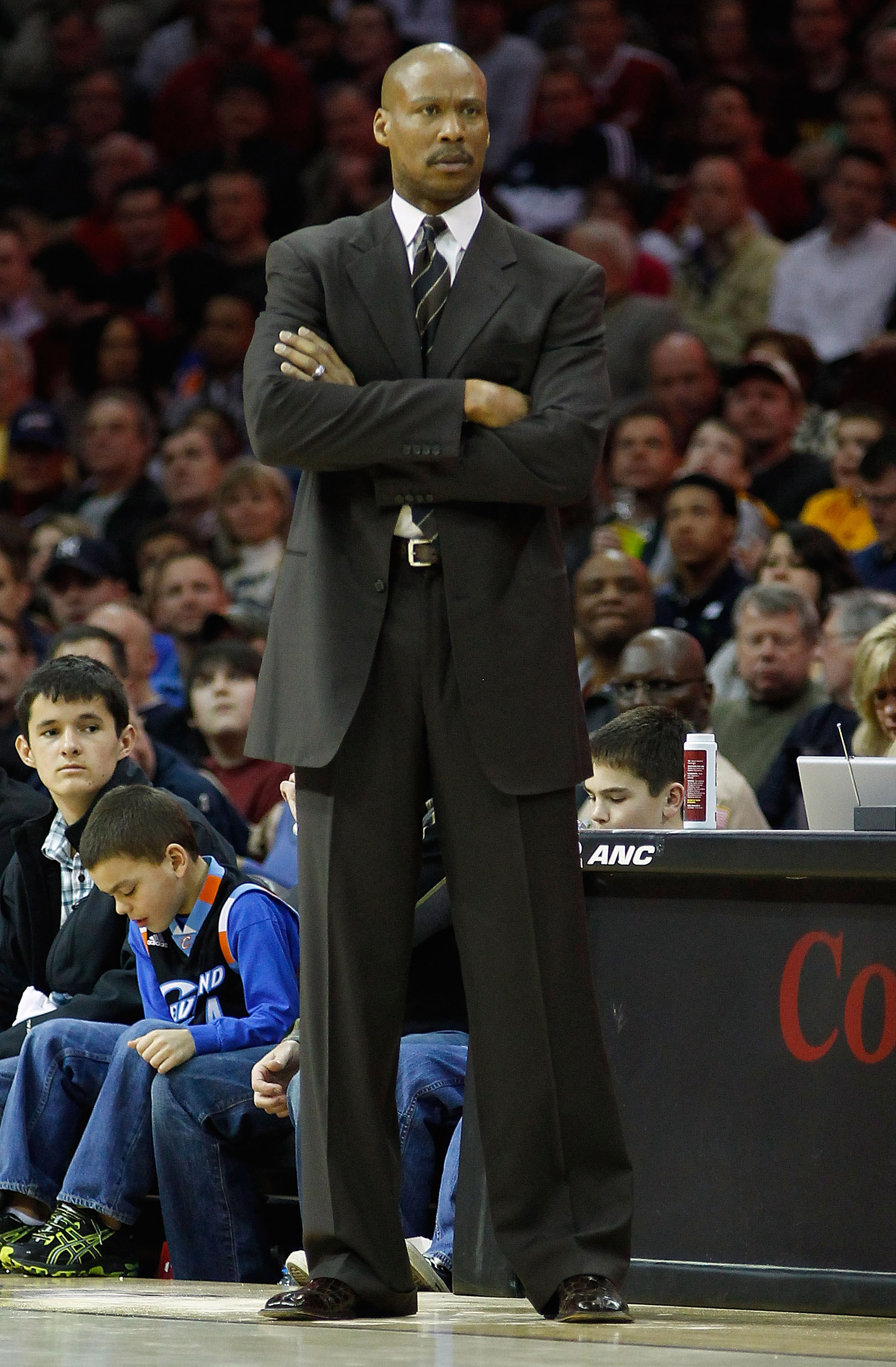 CLEVELAND - FEBRUARY 25:  Head coach Byron Scott of the Cleveland Cavaliers watches his team play against the New York Knicks during the game on February 25, 2011 at Quicken Loans Arena in Cleveland, Ohio. NOTE TO USER: User expressly acknowledges and agr