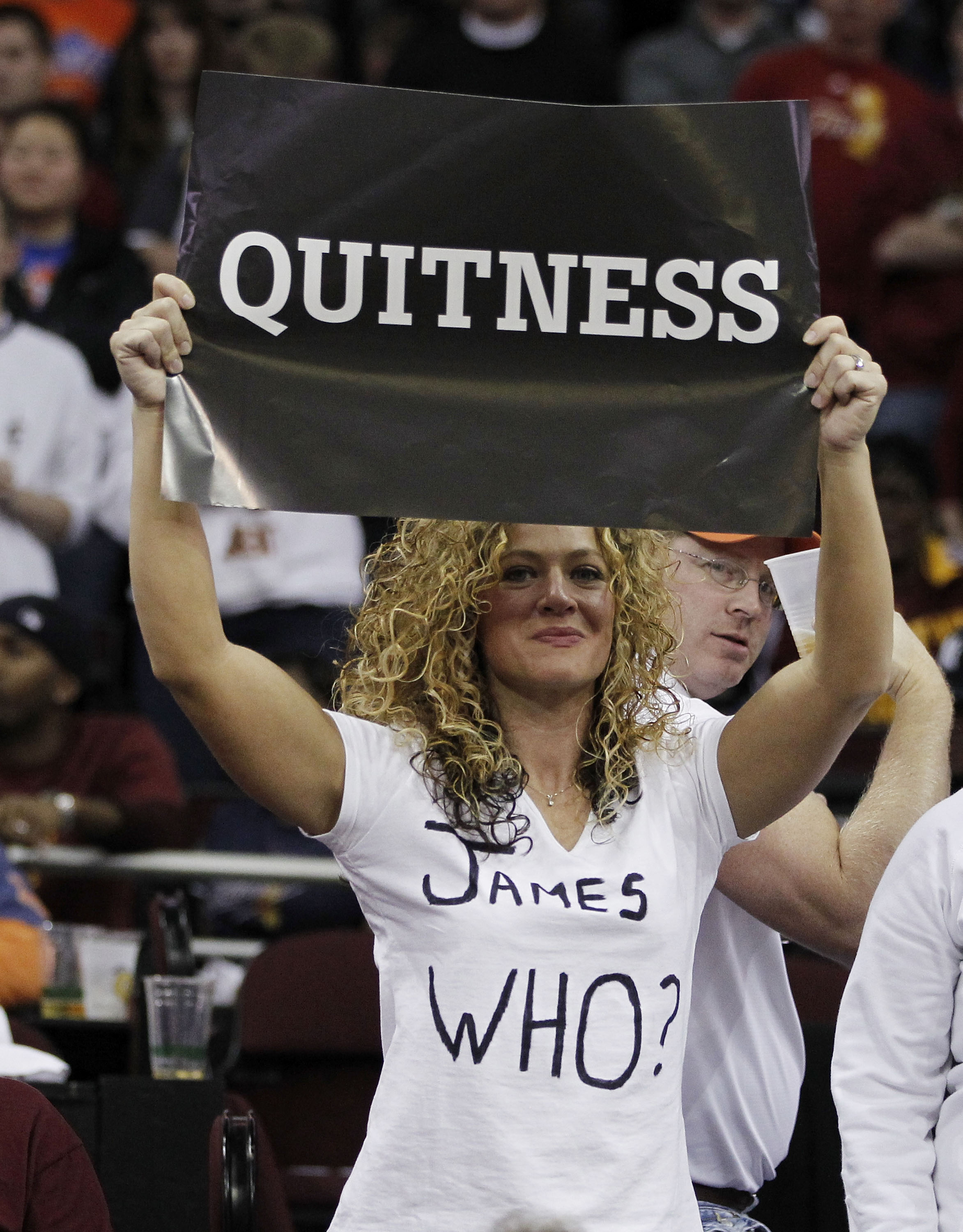 CLEVELAND, OH - DECEMBER 02: A Fan holds up sign during a game between the Cleveland Cavaliers playing the Miami Heat and Cleveland Cavliers at Quicken Loans Arena on December 2, 2010 in Cleveland, Ohio. NOTE TO USER: User expressly acknowledges and agree