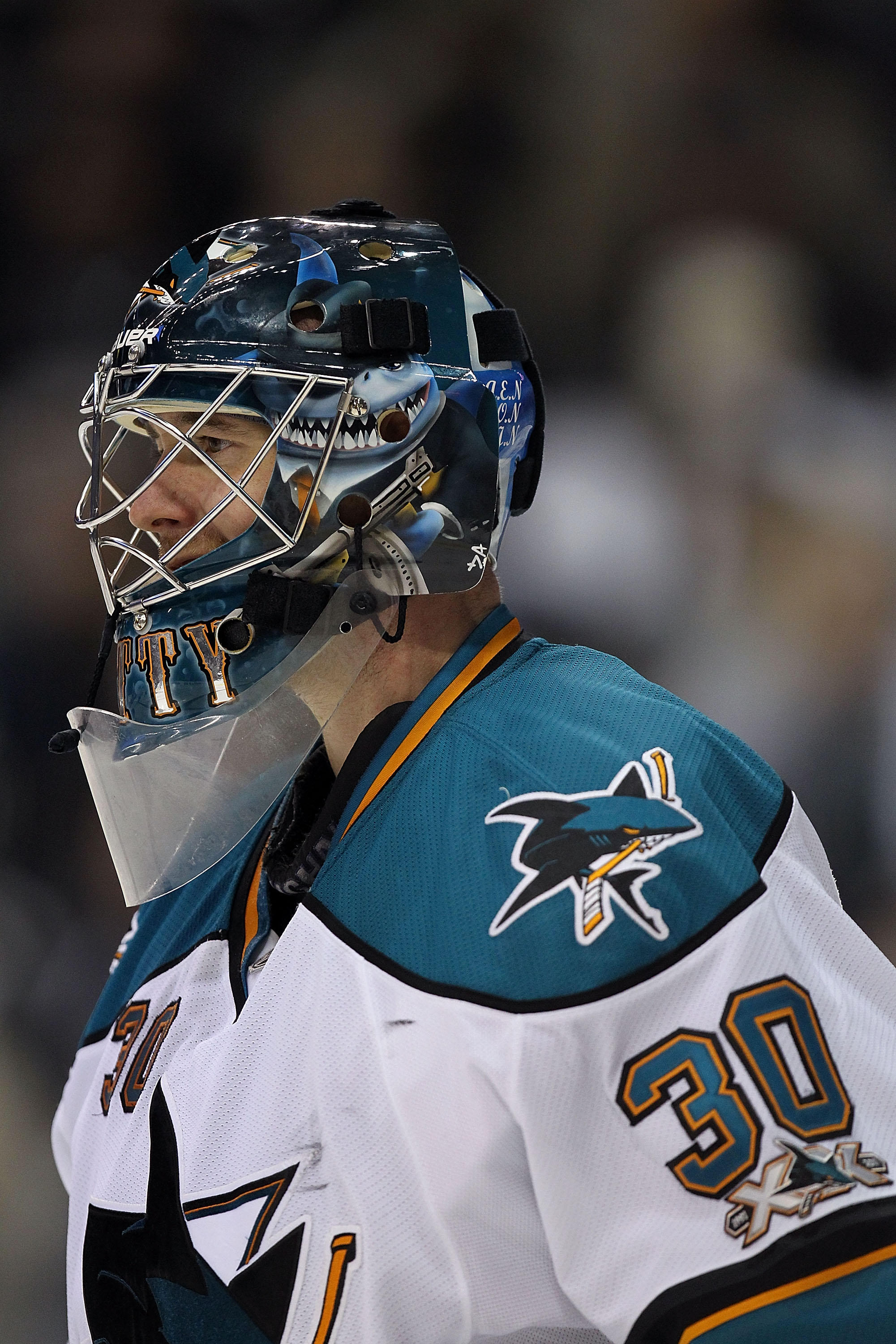 DALLAS, TX - DECEMBER 16:  Goaltender Antero Niittymaki #30 of the San Jose Sharks in goal against the Dallas Stars at American Airlines Center on December 16, 2010 in Dallas, Texas.  (Photo by Ronald Martinez/Getty Images)