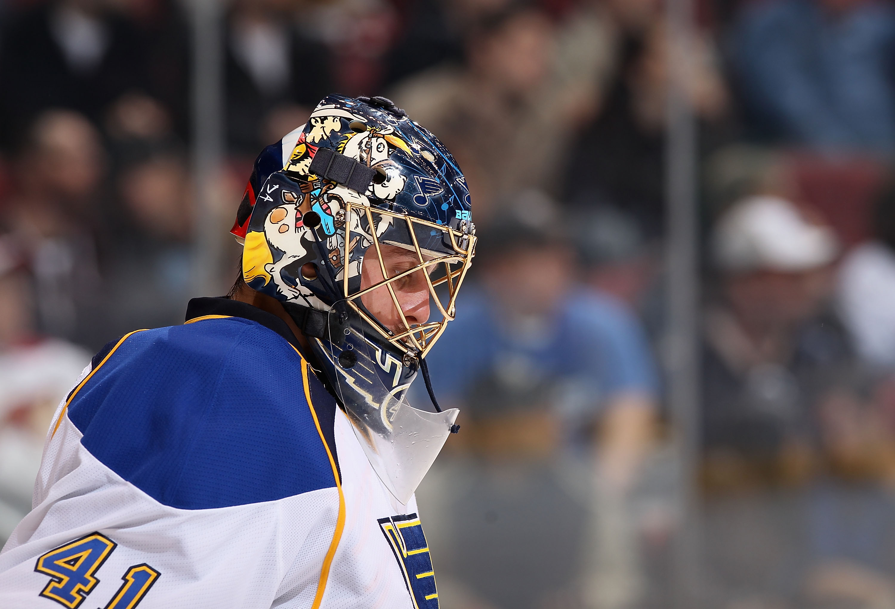 GLENDALE, AZ - MARCH 22:  Goaltender Jaroslav Halak #41 of the St. Louis Blues reacts during the NHL game against the Phoenix Coyotes at Jobing.com Arena on March 22, 2011 in Glendale, Arizona. The Coyotes defeated the Blues 2-1.  (Photo by Christian Pete