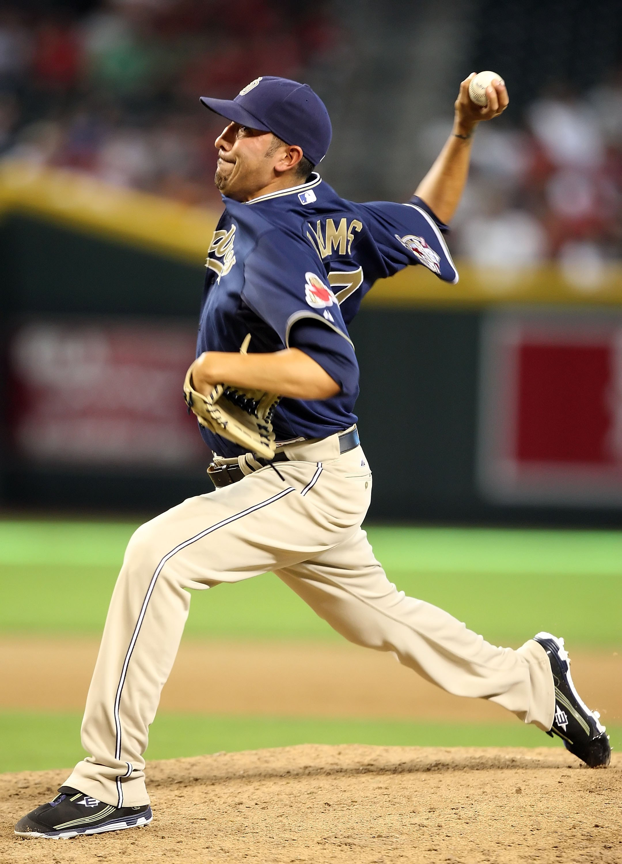 PHOENIX - JULY 08:  Relief pitcher Mike Adams #37 of the San Diego Padres pitches against the Arizona Diamondbacks during the major league baseball game at Chase Field on July 8, 2009 in Phoenix, Arizona. The Diamondbacks defeated the Padres 6-2.  (Photo