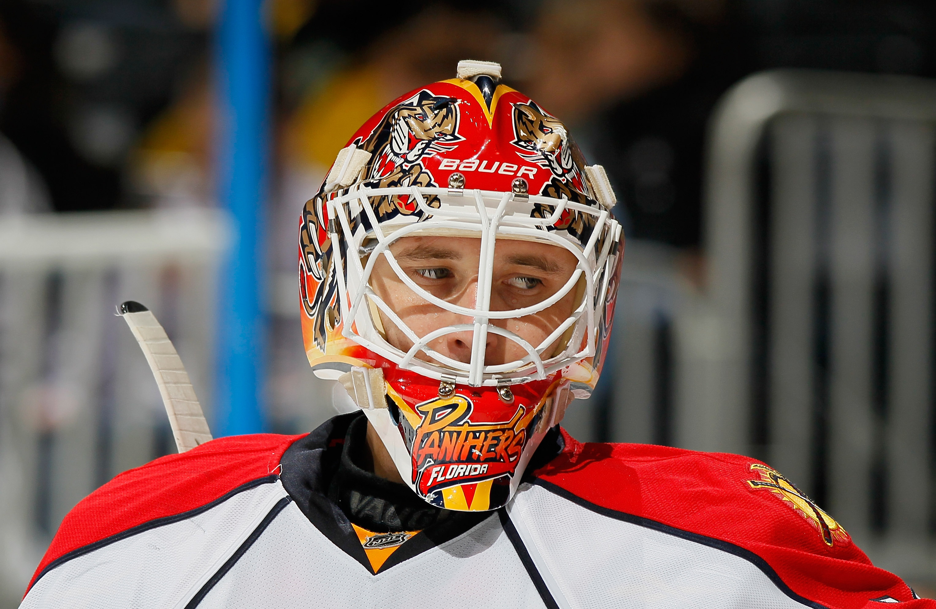 ATLANTA, GA - FEBRUARY 25:  Goaltender Tomas Vokoun #29 of the Florida Panthers looks on against the Atlanta Thrashers at Philips Arena on February 25, 2011 in Atlanta, Georgia.  (Photo by Kevin C. Cox/Getty Images)