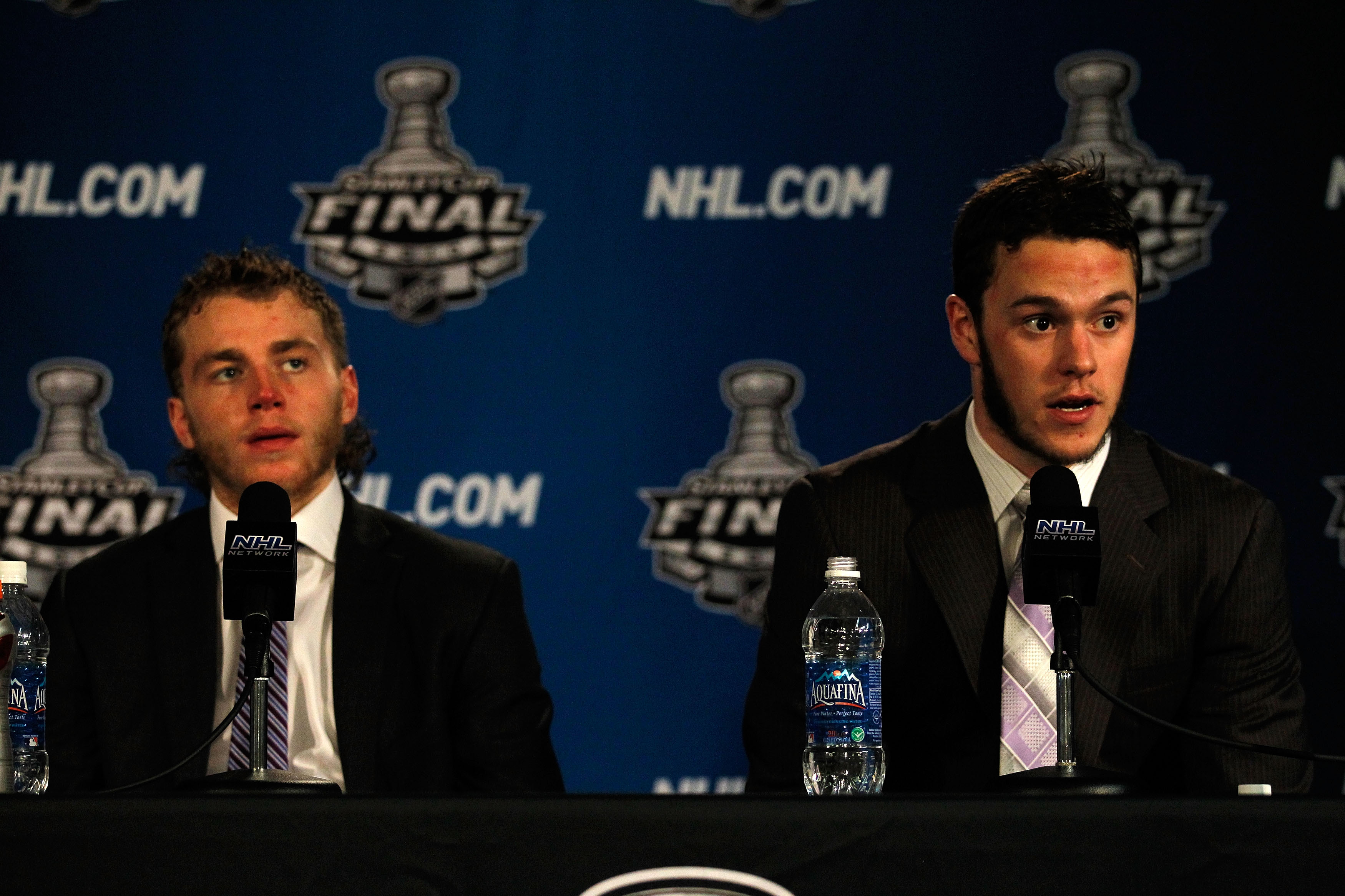 CHICAGO - JUNE 06:  Patrick Kane #88 (L) and Jonathan Toews #19 of the Chicago Blackhawks speak at a press conference after defeating the Philadelphia Flyers 7-4 in Game Five of the 2010 NHL Stanley Cup Final at the United Center on June 6, 2010 in Chicag