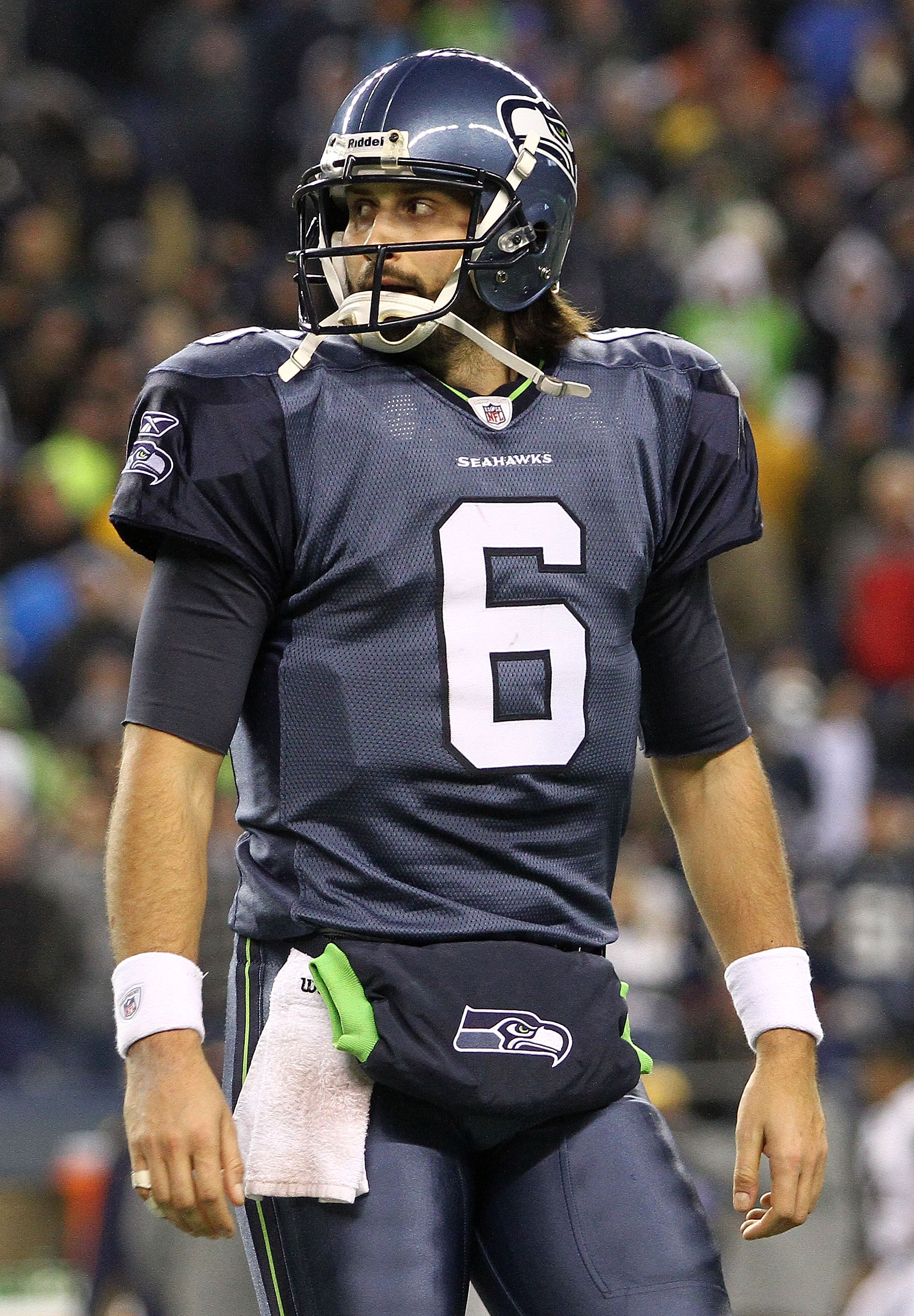 SEATTLE, WA - JANUARY 02:  Quarterback Charlie Whitehurst #6 of the Seattle Seahawks stands on the field during their game against the St. Louis Rams at Qwest Field on January 2, 2011 in Seattle, Washington.  (Photo by Otto Greule Jr/Getty Images)