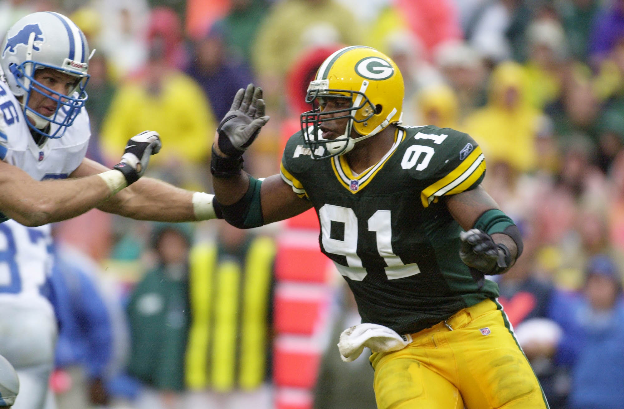 09 Sep 2001: Joe Johnson of the Green Bay Packers moves against the Detroit Lions during the game at Lambeau Field in Green Bay, Wisconsin. The Packers defeated the Lions 28-6. DIGITAL IMAGE. Mandatory Credit: Jonathan Daniel/Allsport