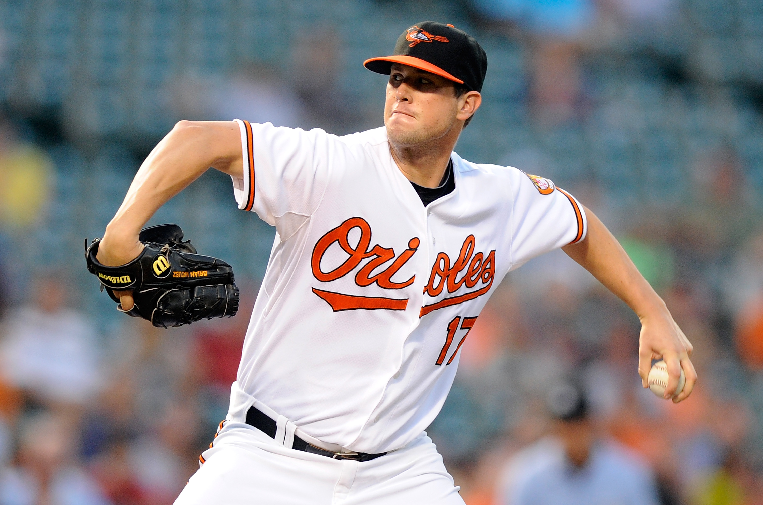 BALTIMORE - AUGUST 09:  Brian Matusz #17 of the Baltimore Orioles pitches against the Chicago White Sox at Camden Yards on August 9, 2010 in Baltimore, Maryland.  (Photo by Greg Fiume/Getty Images)