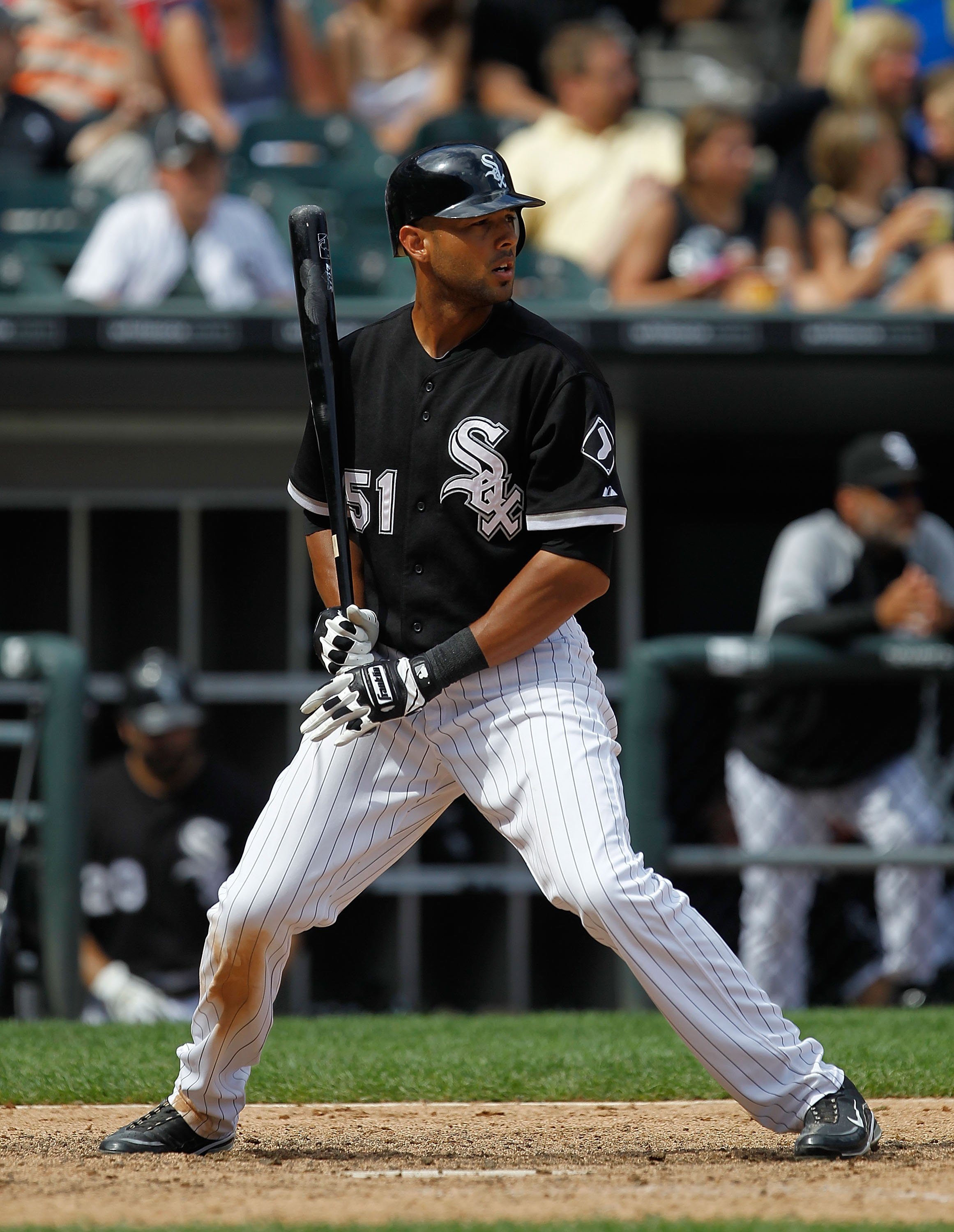 CHICAGO - JUNE 27: Alex Rios #51 of the Chicago White Sox prepares to bat against the Chicago Cubs at U.S. Cellular Field on June 27, 2010 in Chicago, Illinois. The Cubs defeated the White Sox 8-6. (Photo by Jonathan Daniel/Getty Images)