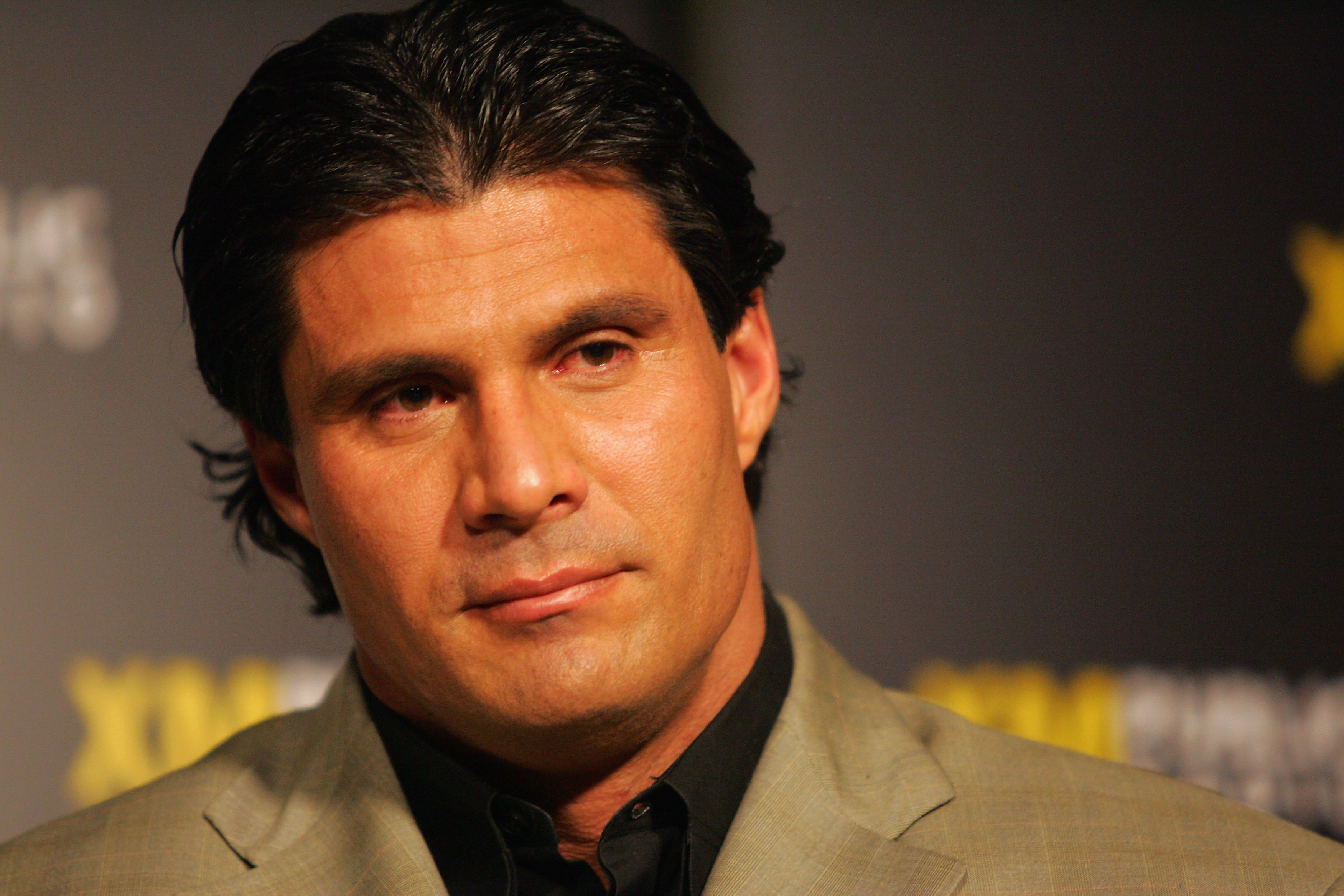WASINGTON - MARCH 16:  Former Major League Baseball player Jose Canseco discusses steroid use during a town hall meeting and news conference March 16, 2005 at XM Satellite headquarters in Washington, DC.  (Photo By Jamie Squire/Getty Images)