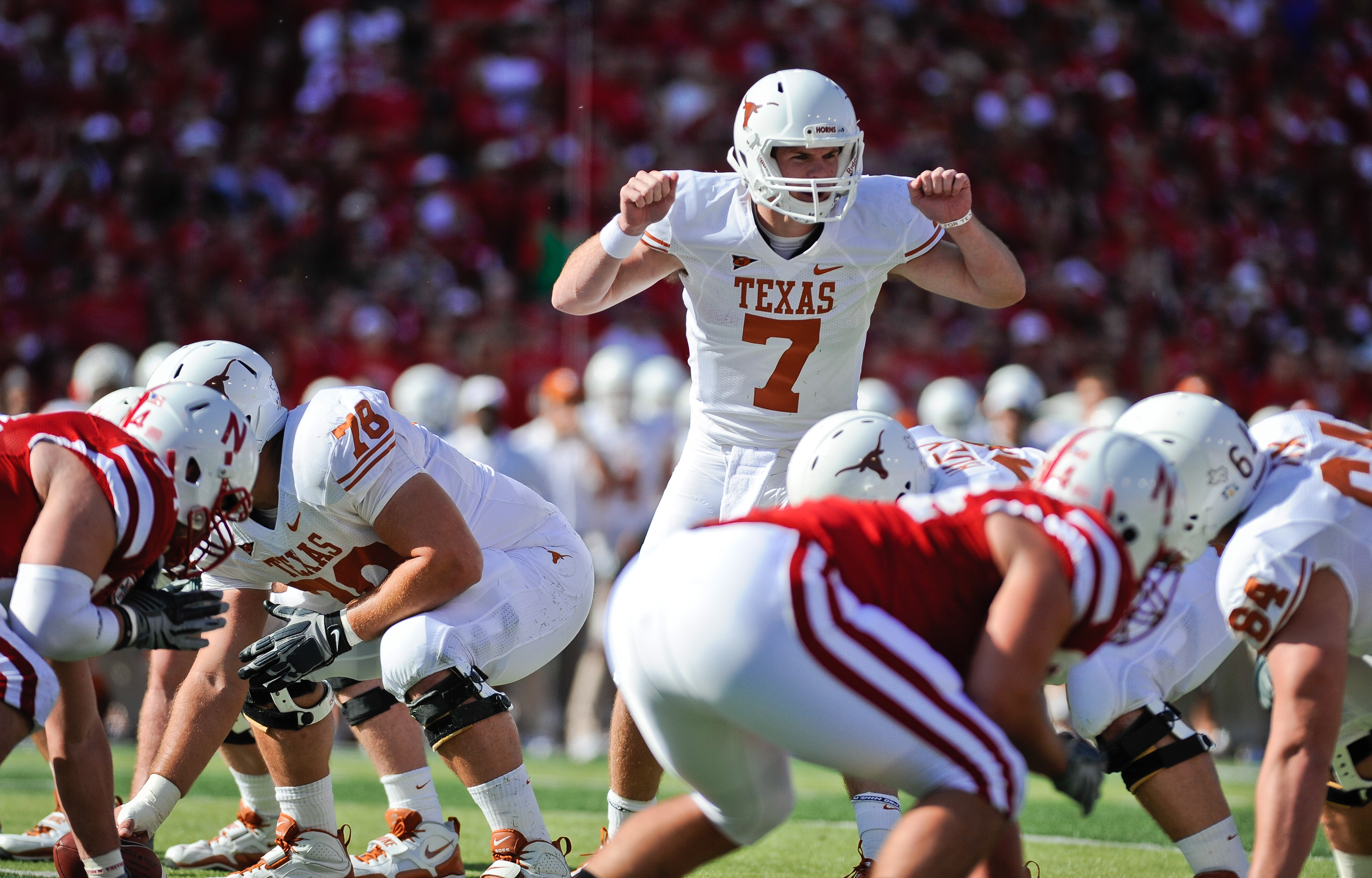 LINCOLN, NE - OCTOBER 16: Quarterback Garrett Gilbert #7 of the Texas Longhorns during first half action of their game at Memorial Stadium on October 16, 2010 in Lincoln, Nebraska. Texas Defeated Nebraska 20-13. (Photo by Eric Francis/Getty Images)