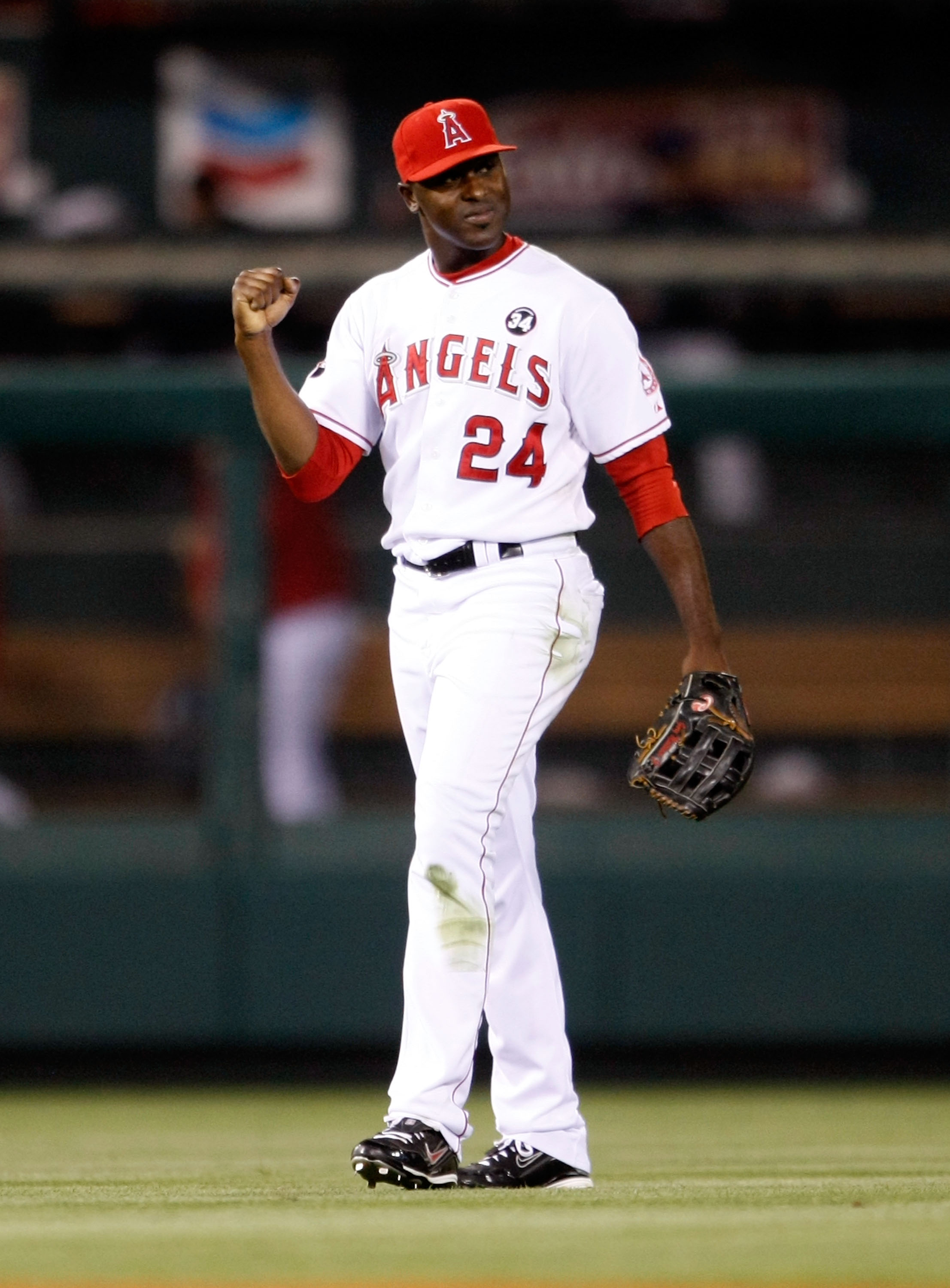 ANAHEIM, CA - AUGUST 10:  Gary Matthews Jr. #24 of the Los Angeles Angels of Anaheim celebrates following the Angels' 8-7 victory over the Tampa Bay Rays at Angel Stadium on August 10, 2009 in Anaheim, California.  (Photo by Jeff Gross/Getty Images)