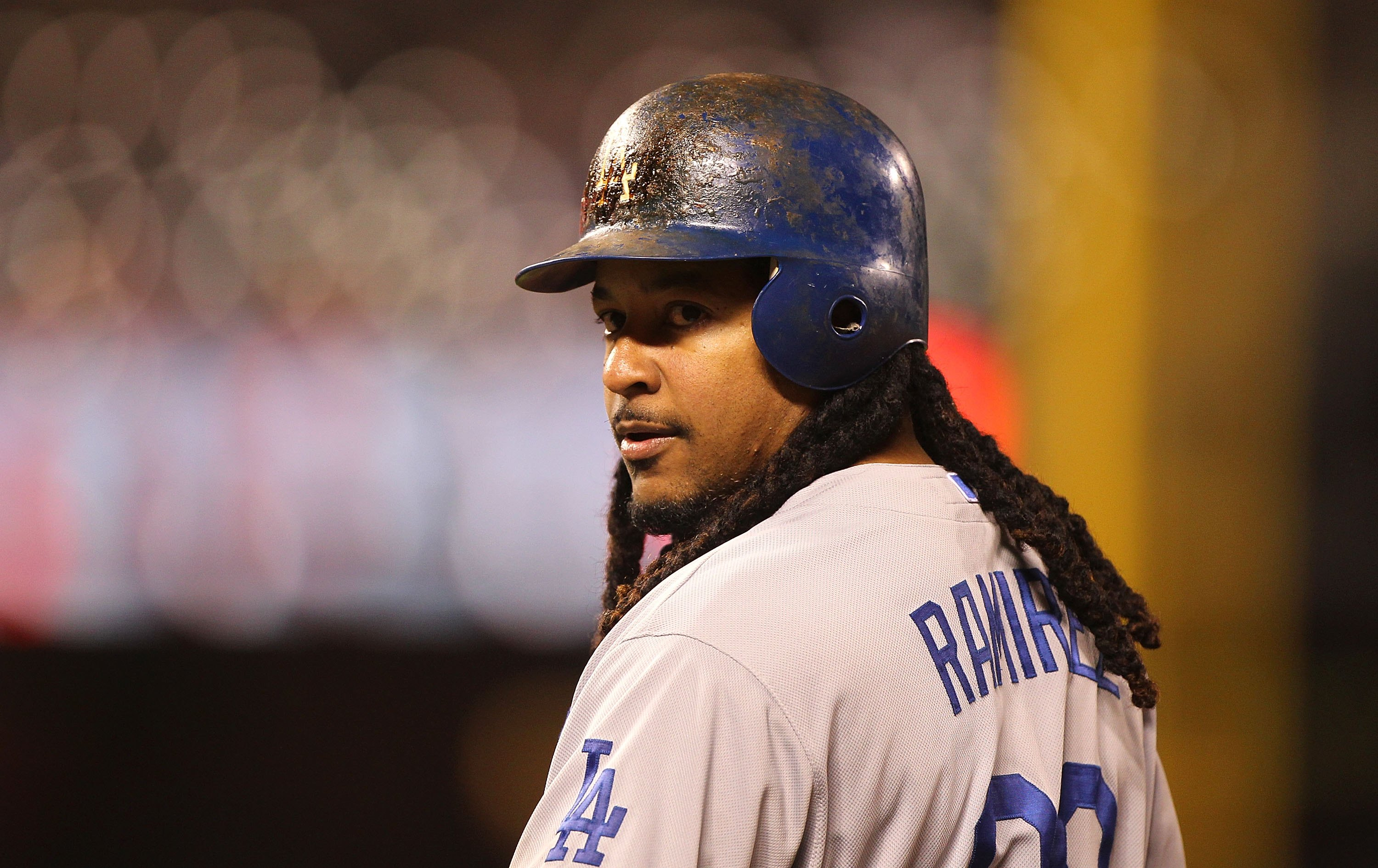 SAN FRANCISCO - JUNE 28:  Manny Ramirez #99 of the Los Angeles Dodgers in action against the San Francisco Giants during an MLB game at AT&T Park on June 28, 2010 in San Francisco, California.  (Photo by Jed Jacobsohn/Getty Images)