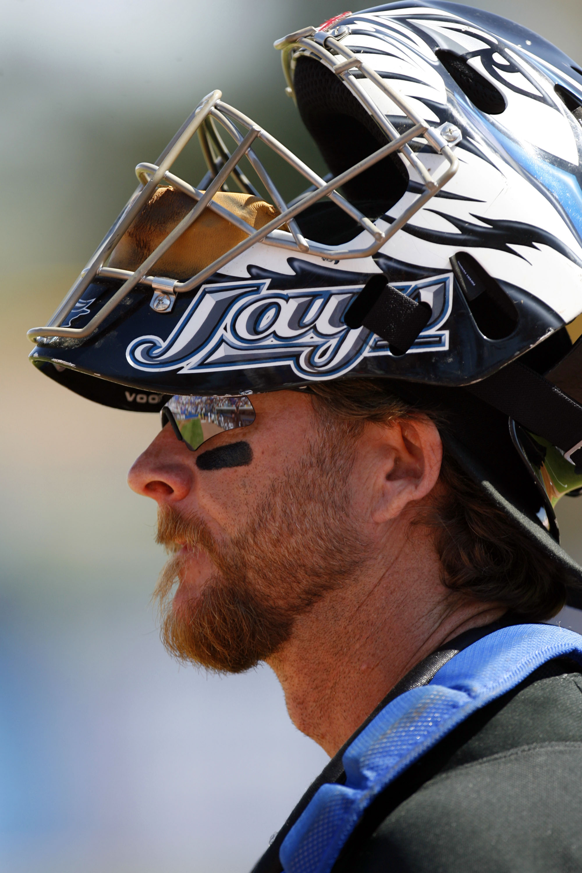 DUNEDIN, FL - MARCH 2: Catcher Gregg Zaun #9 of the Toronto Blue Jays walks on the field prior to playing the Cincinnati Reds during a Spring Training game at Knology Park on March 2, 2008 in Dunedin, Florida. (Photo by Eliot J. Schechter/Getty Images)