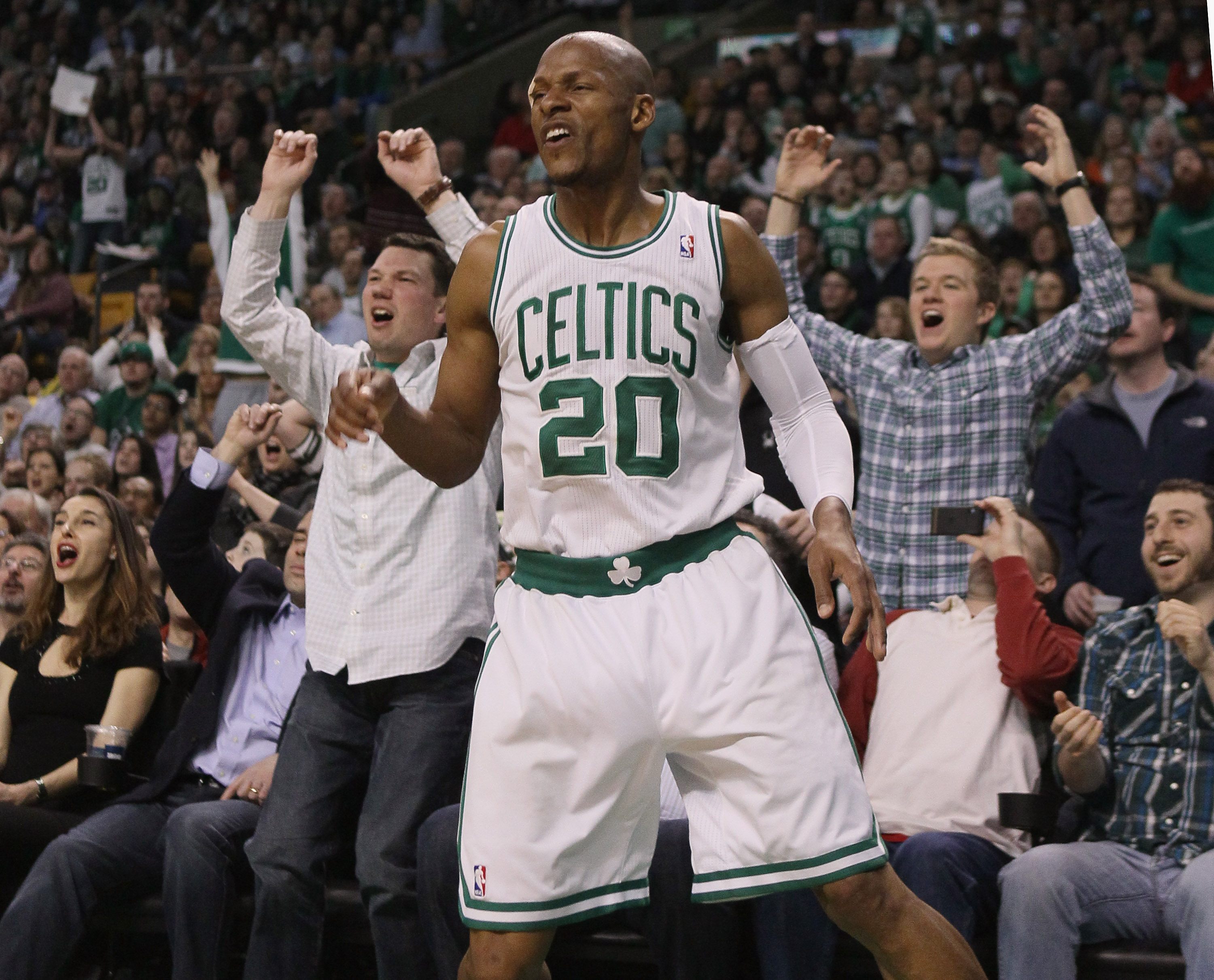 BOSTON, MA - MARCH 23:  Ray Allen #20 of the Boston Celtics and the fans react after he misses a three point shot in the fourth quarter against the Memphis Grizzlies on March 23, 2011 at the TD Garden in Boston, Massachusetts.  The Memphis Grizzlies defea