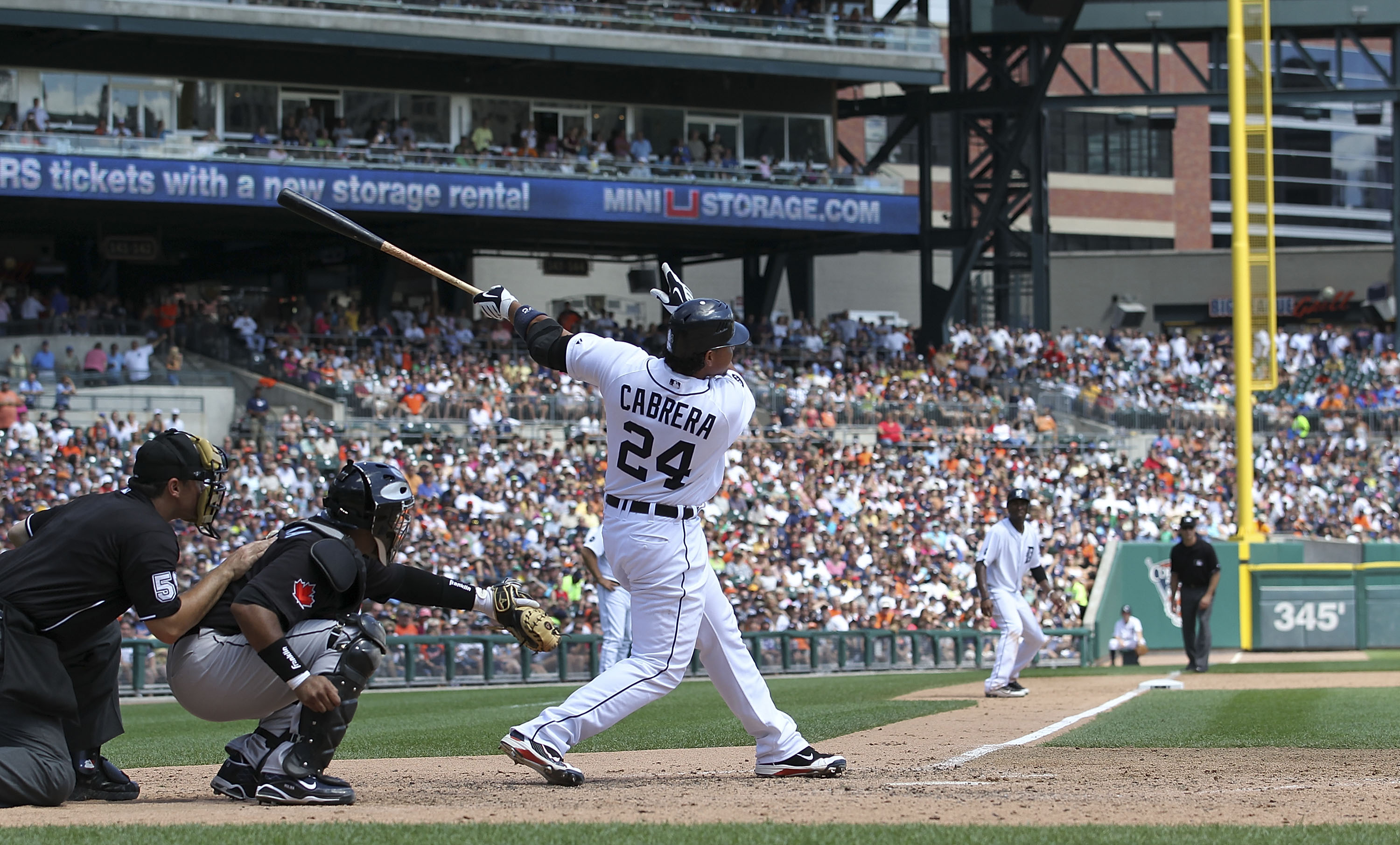 DETROIT - JULY 25:  Miguel Cabrera #24 of the Detroit Tigers bats during the first inning against the  Toronto Blue Jays on July 25, 2010 at Comerica Park in Detroit, Michigan. The Blue Jays defeated the Tigers 5-3.  (Photo by Leon Halip/Getty Images)
