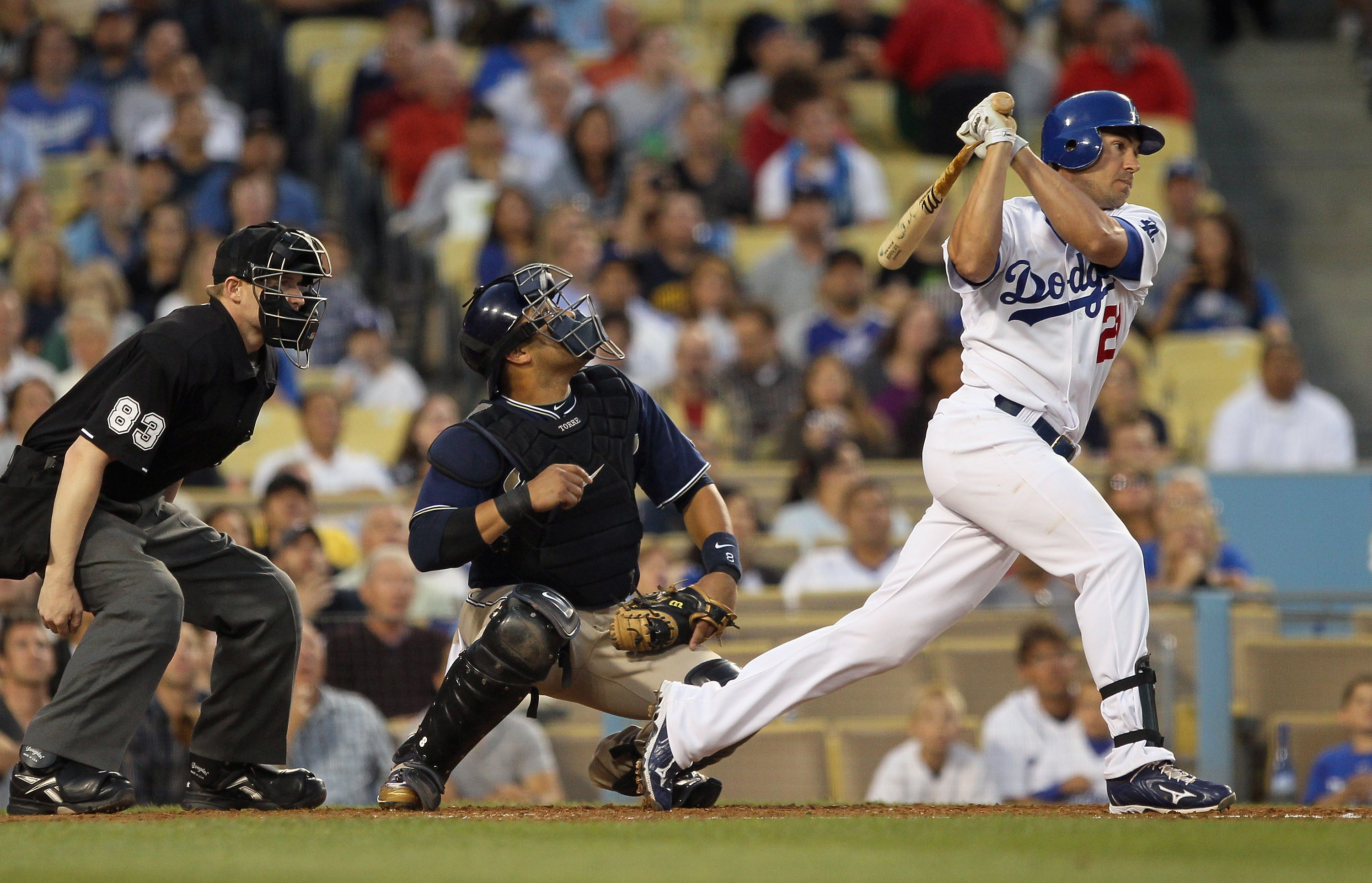 LOS ANGELES, CA - AUGUST 04:  Scott Podsednik #21 of the Los Angeles Dodgers plays in the game against the San Diego Padres at Dodger Stadium on August 4, 2010 in Los Angeles, California.  (Photo by Jeff Gross/Getty Images)