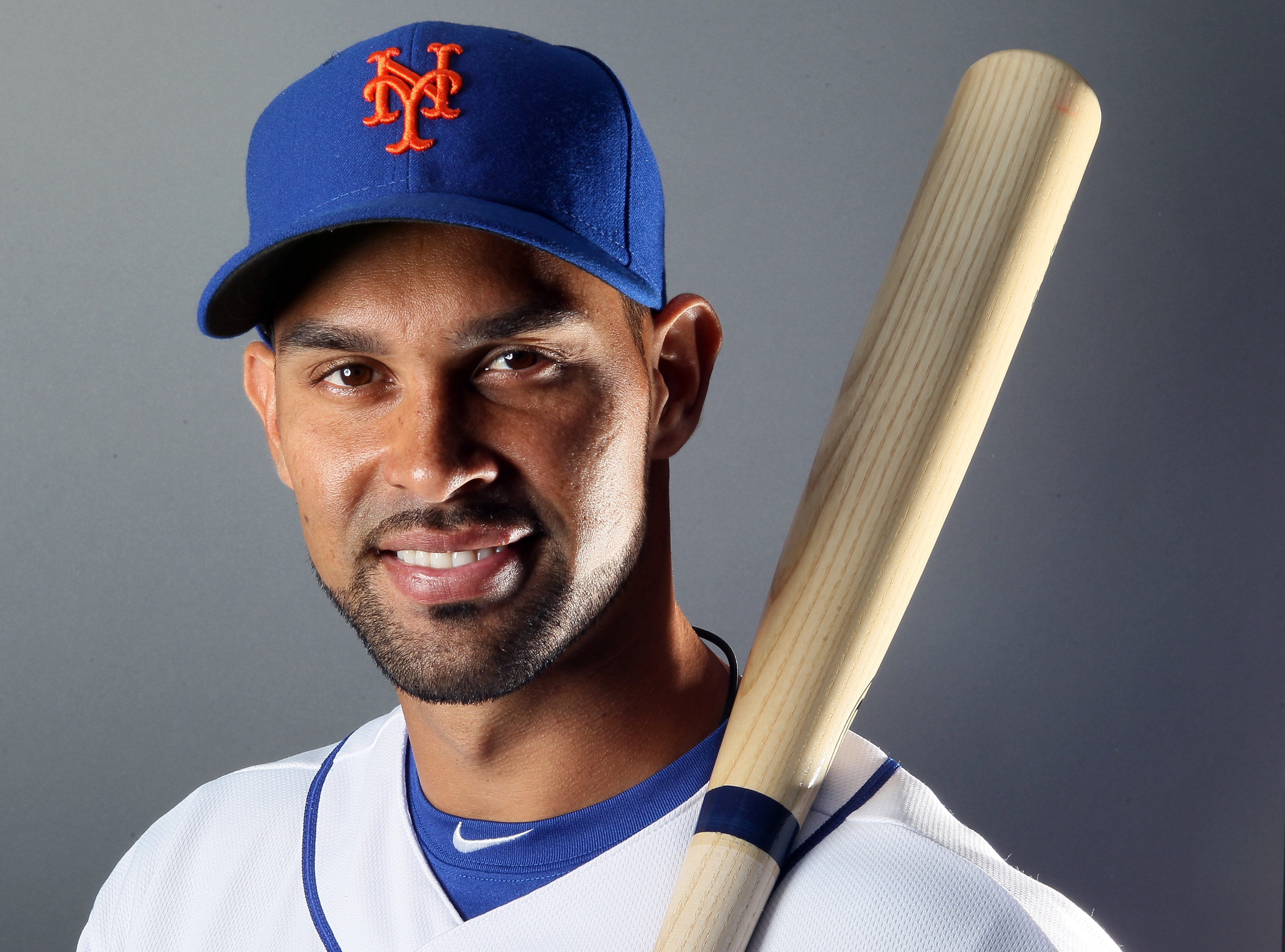 PORT ST. LUCIE, FL - FEBRUARY 24:  RY 24:  RY 24:  Angel Pagan #16 of the New York Mets poses for a portrait during the New York Mets Photo Day on February 24, 2011 at Digital Domain Park in Port St. Lucie, Florida.  (Photo by Elsa/Getty Images)