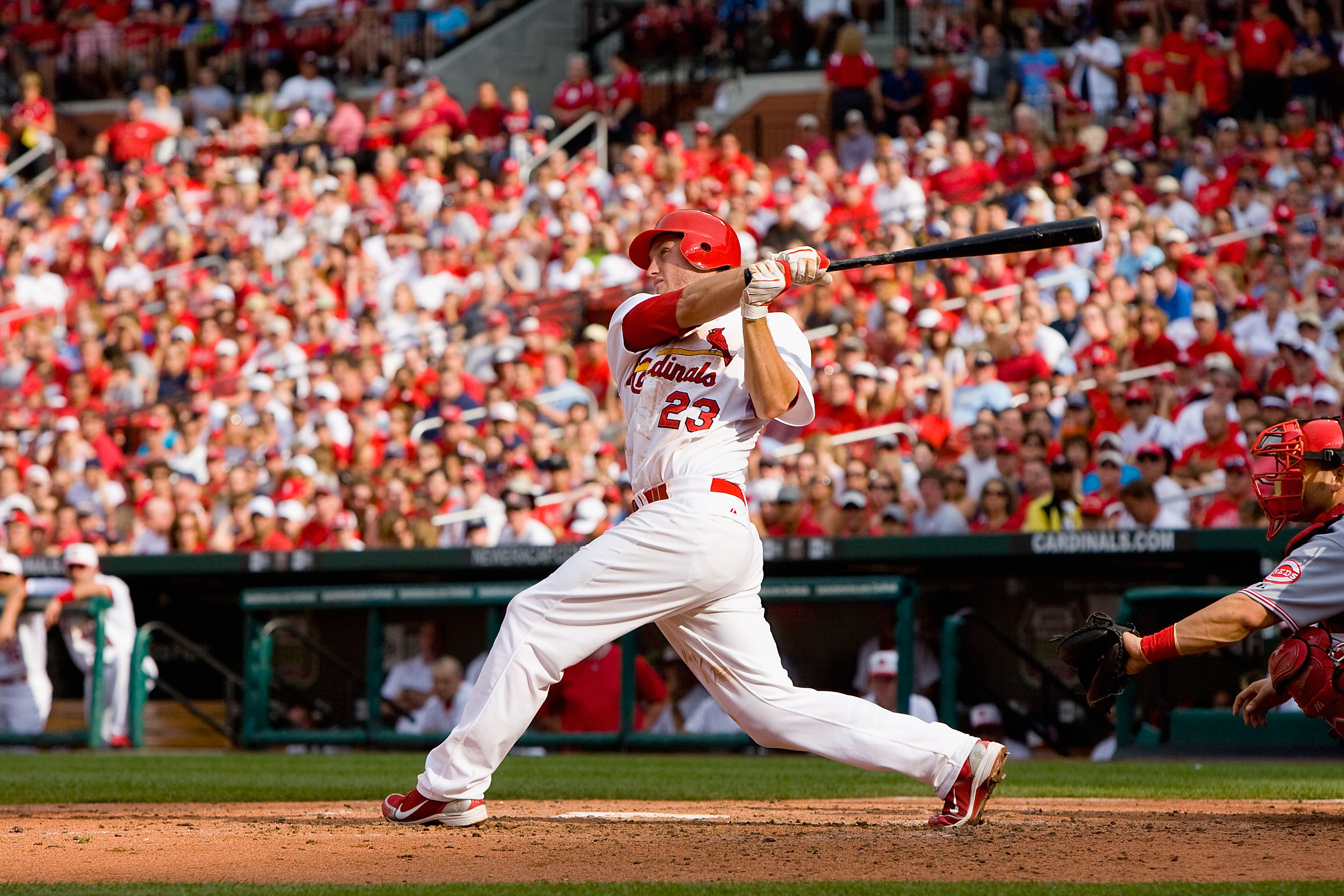 ST. LOUIS - MAY 31: David Freese #23 of the St. Louis Cardinals bats against the Cincinnati Reds at Busch Stadium on May 31, 2010 in St. Louis, Missouri.  (Photo by Dilip Vishwanat/Getty Images)