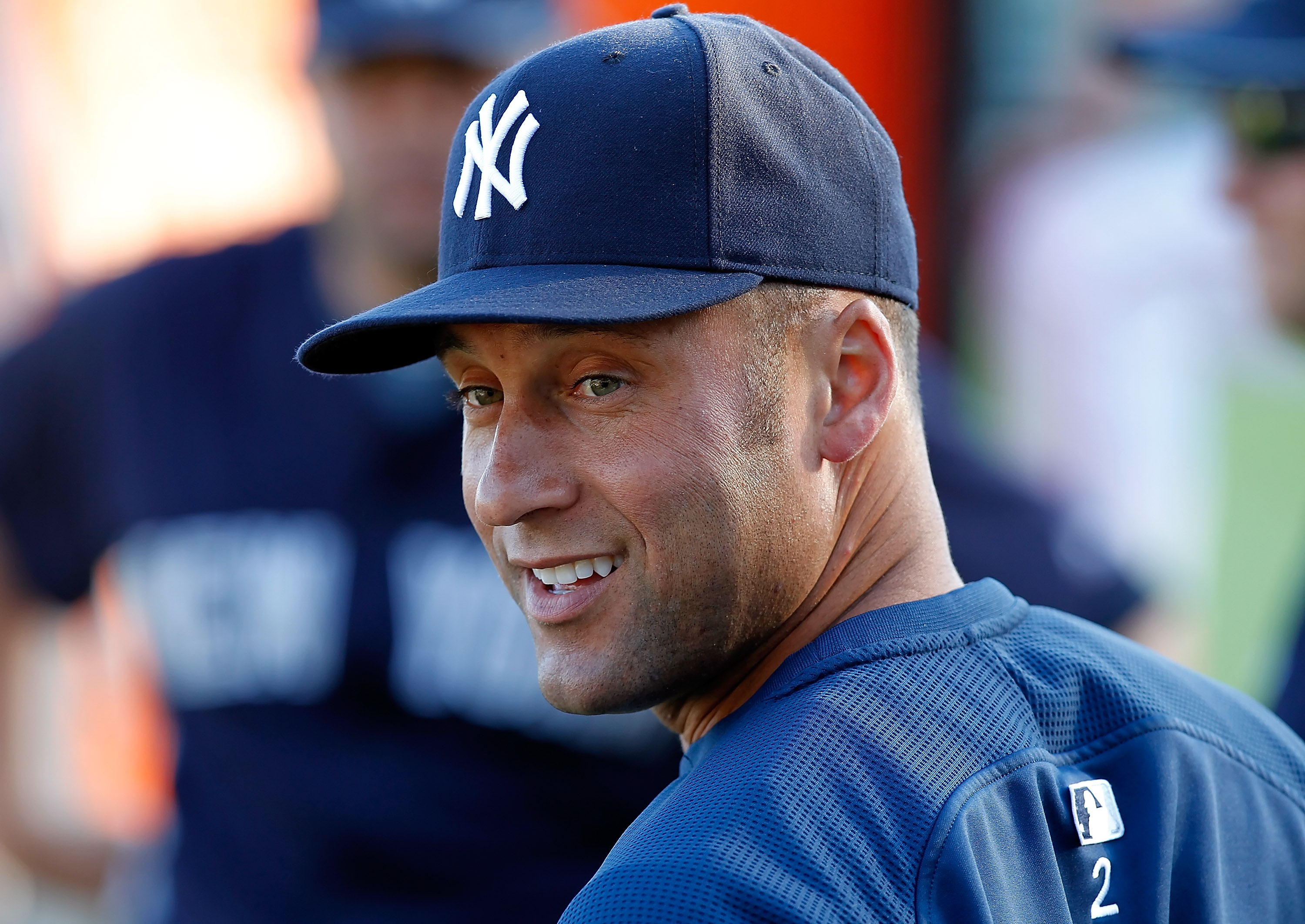 SARASOTA, FL - MARCH 07:  Infielder Derek Jeter #2 of the New York Yankees warms up just prior to the start of the Grapefruit League Spring Training Game against the Baltimore Orioles at Ed Smith Stadium on March 7, 2011 in Sarasota, Florida.  (Photo by J