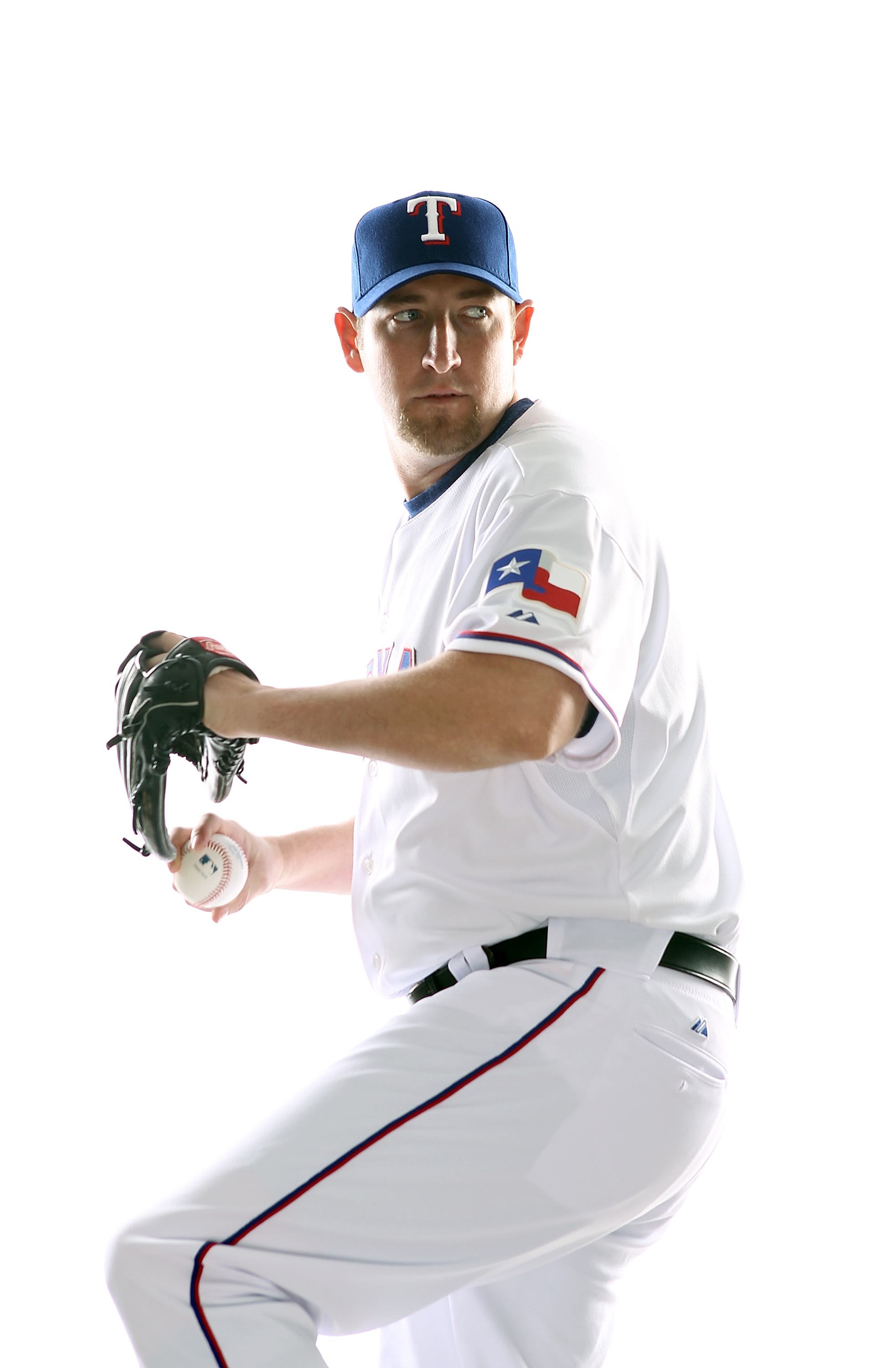 SURPRISE, AZ - FEBRUARY 25:  Brandon Webb #33 of the Texas Rangers poses for a portrait during Spring Training Media Day on February 25, 2011 at Surprise Stadium in Surprise, Arizona.  (Photo by Jonathan Ferrey/Getty Images)