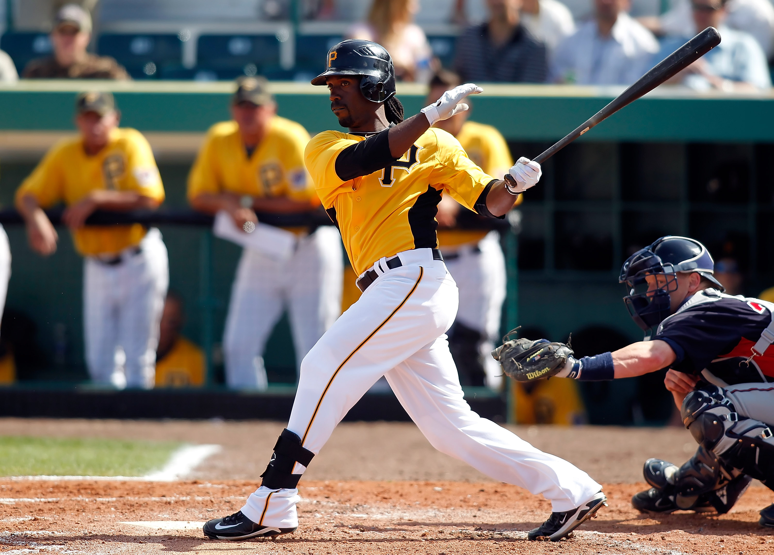 BRADENTON, FL - MARCH 02:  Outfielder Andrew McCutchen #22 of the Pittsburgh Pirates fouls off a pitch against the Minnesota Twins during a Grapefruit League Spring Training Game at McKechnie Field on March 2, 2011 in Bradenton, Florida.  (Photo by J. Mer