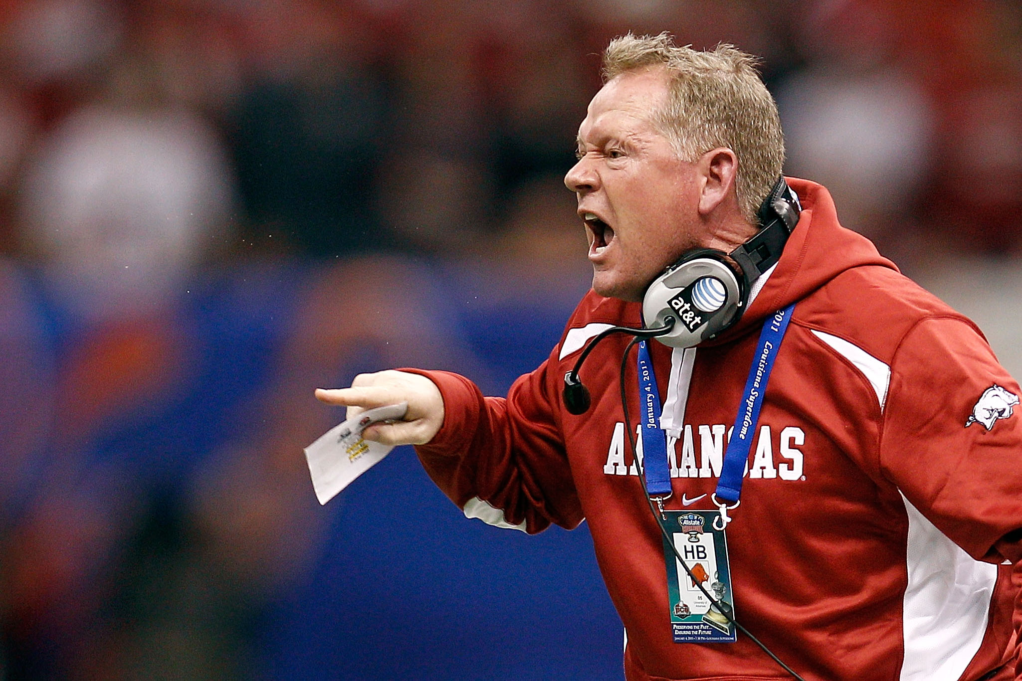 NEW ORLEANS, LA - JANUARY 04:  Head coach Bobby Petrino of the Arkansas Razorbacks reacts in the first half against the Ohio State Buckeyes during the Allstate Sugar Bowl at the Louisiana Superdome on January 4, 2011 in New Orleans, Louisiana.  (Photo by